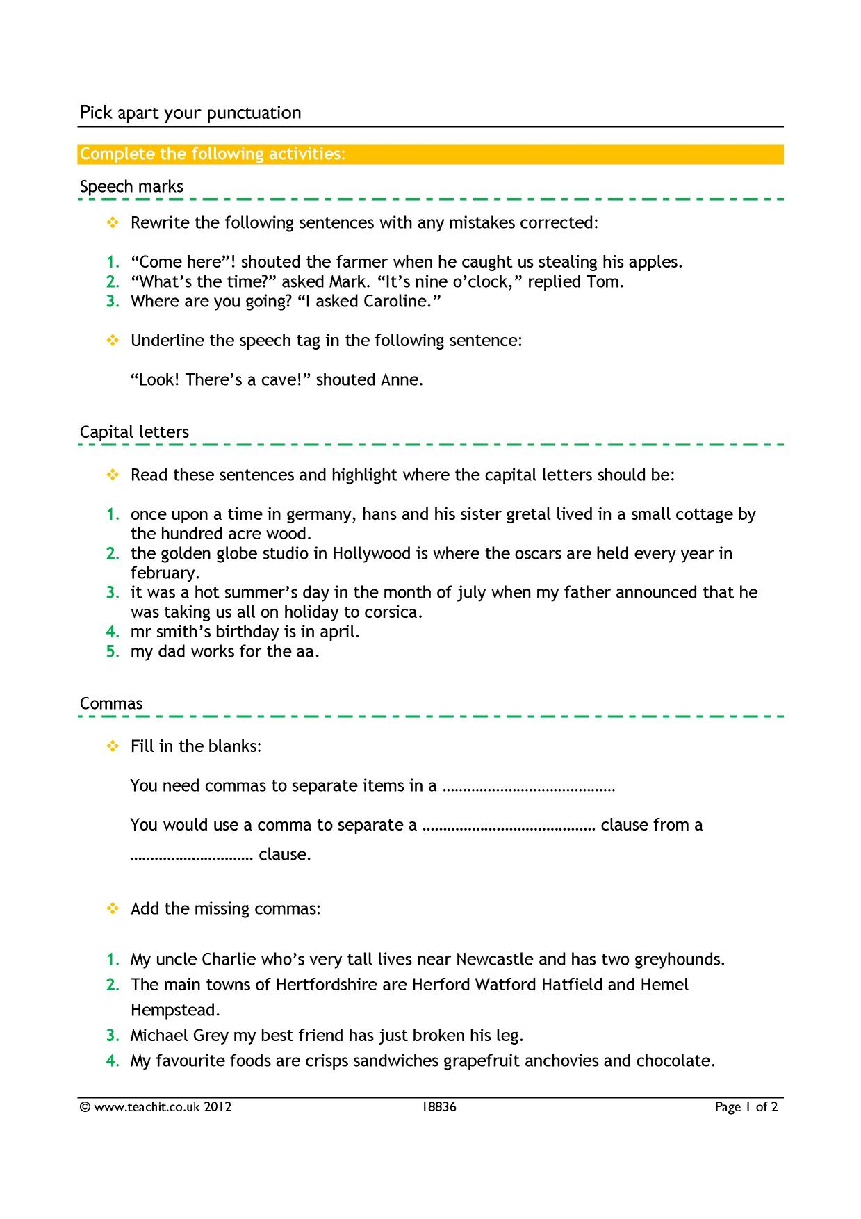 worksheet Comma Splice Worksheet ks3 punctuation teachit english 5 preview