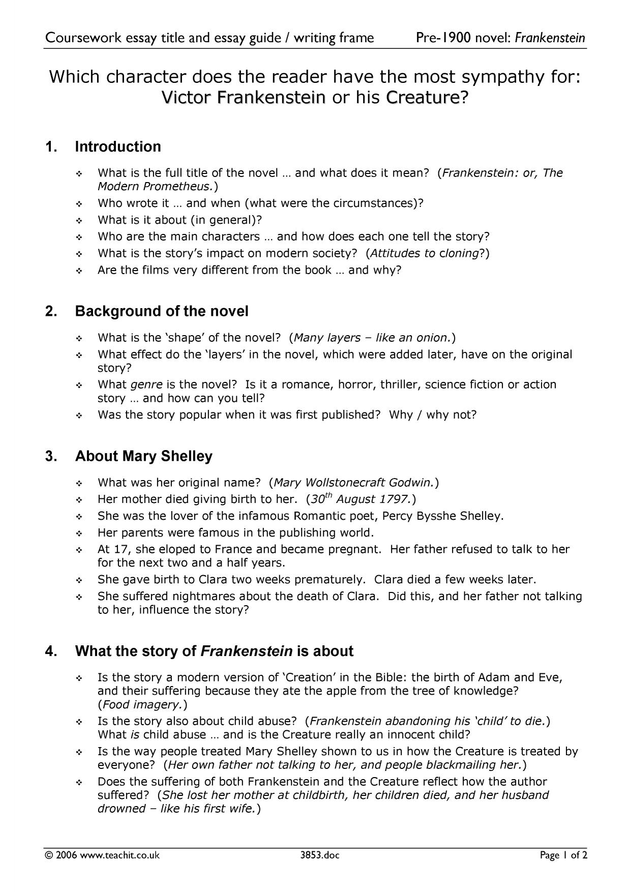mary shelleys frankenstein 6 essay Physical appearance in mary shelly's frankenstein essay 1270 words | 6 pages physical appearance in mary shelly's frankenstein in mary shelley's frankenstein we are introduced early in the.