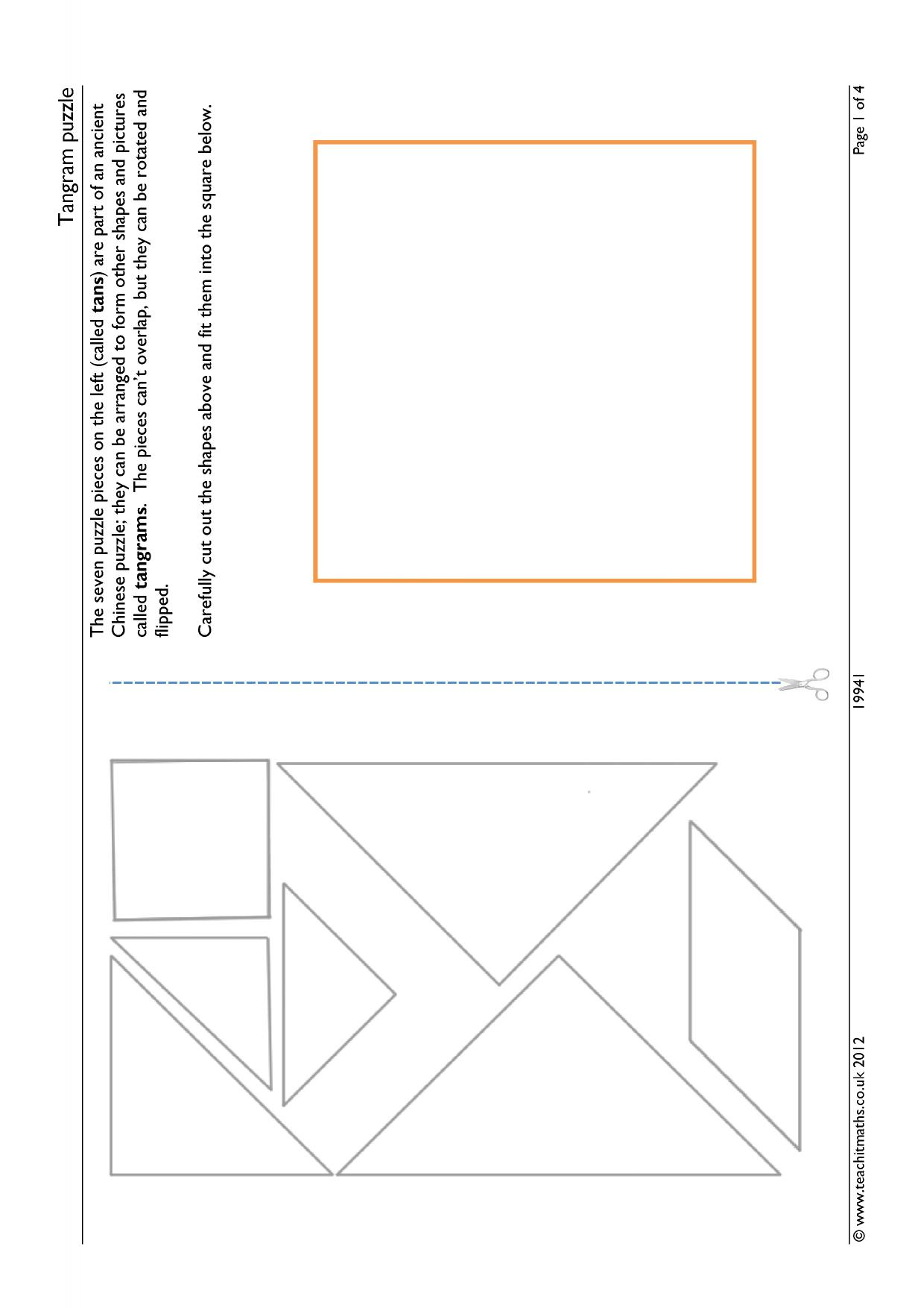 picture regarding Tangrams Printable Pdf known as Reduce-out Tangram puzzles worksheet or smartboard