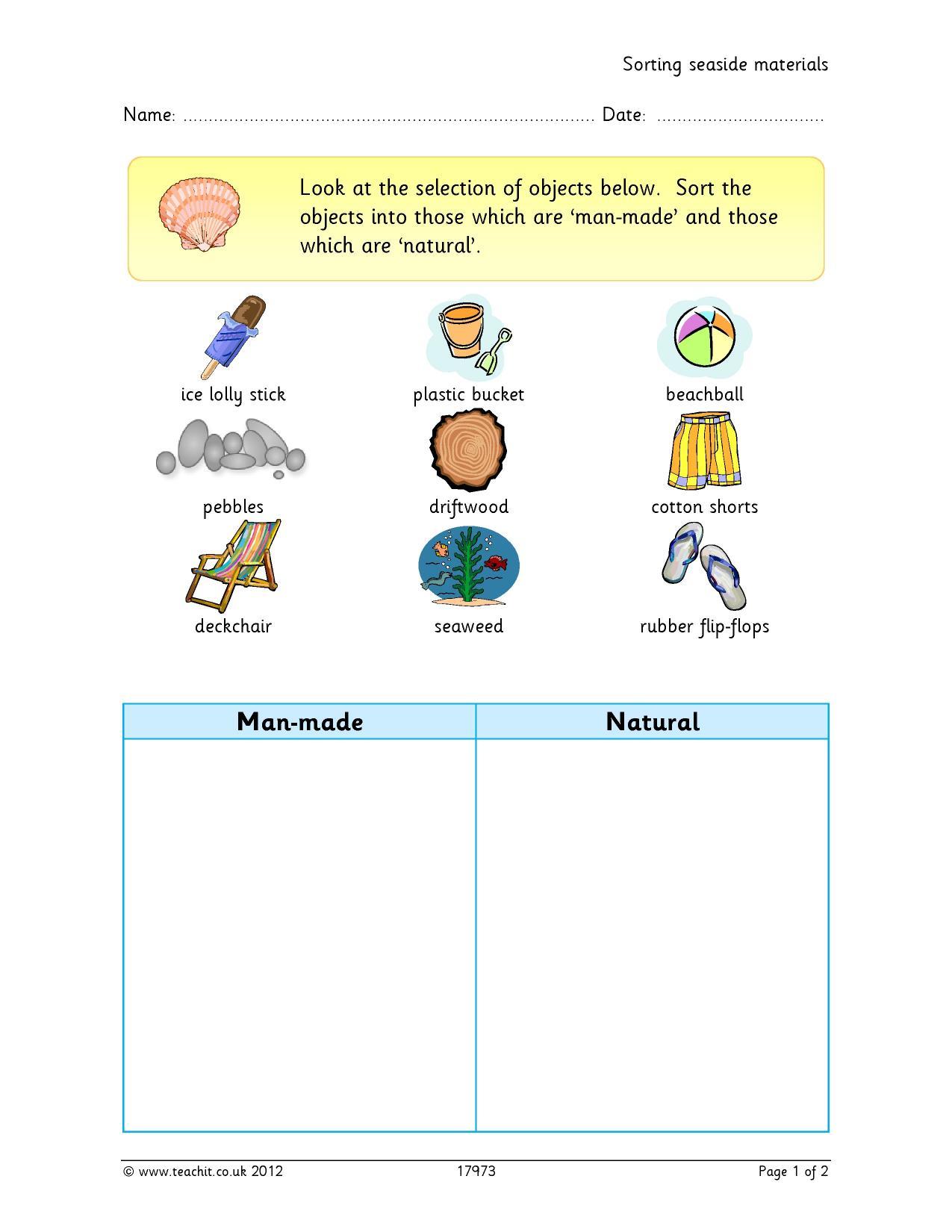 Natural Vs Manmade Kindergarten
