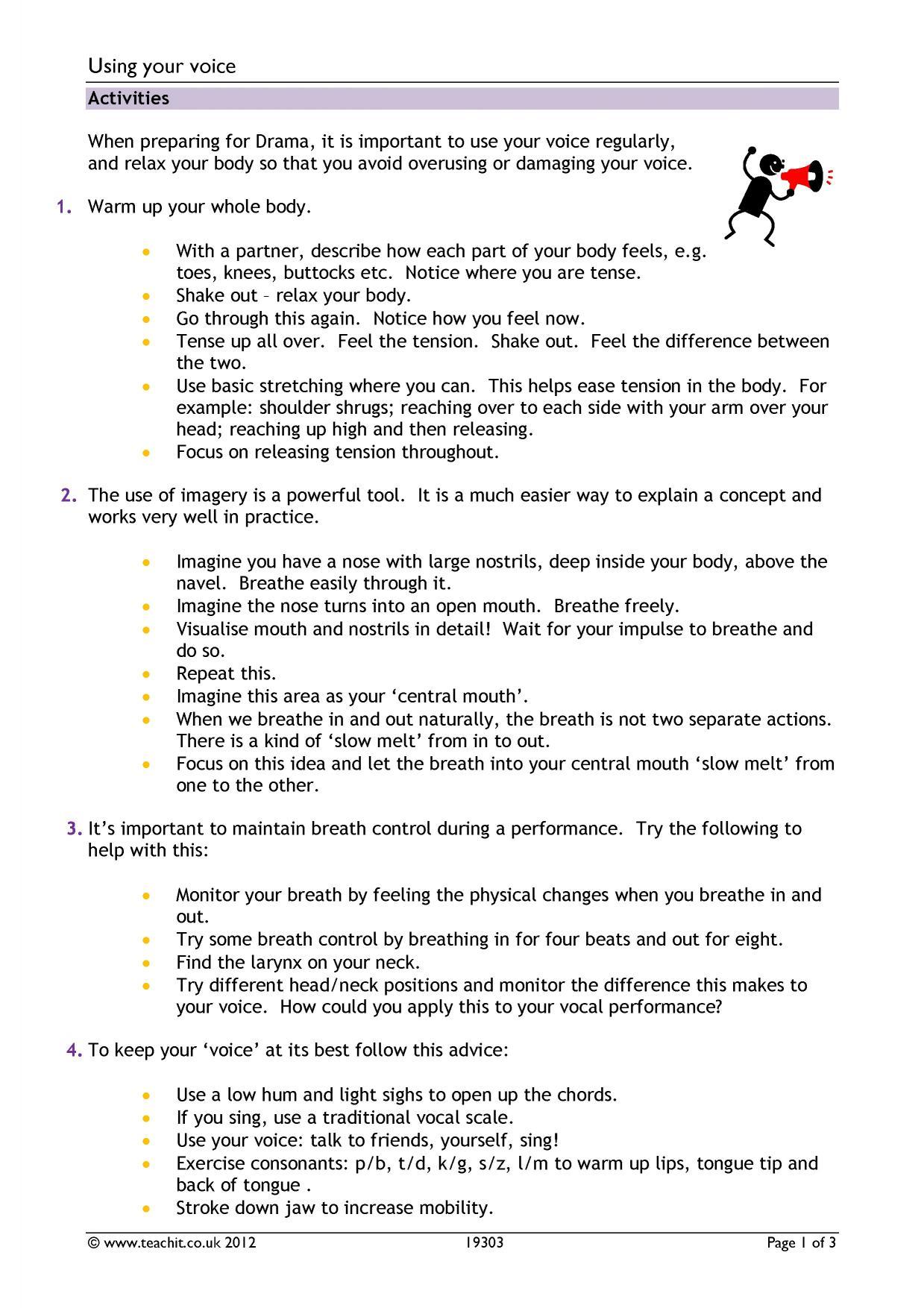 Drama teaching resources for GCSE Teachit English – Drama Terms Worksheet