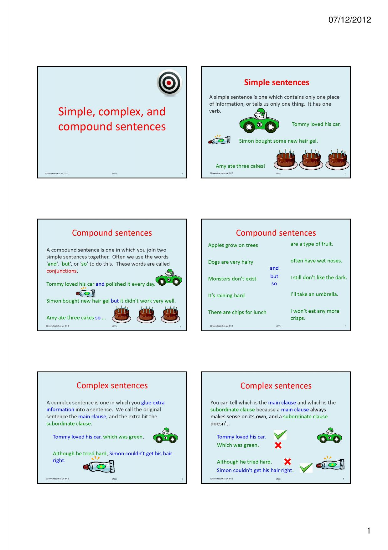 Worksheet Simple Compound And Complex Sentences Worksheets Grass