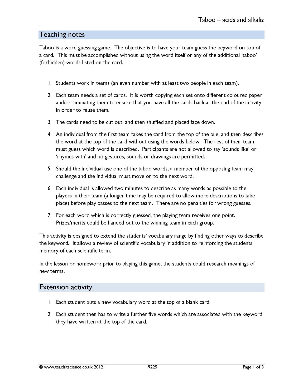Worksheets Ecology Vocabulary Worksheet ks3 chemical reactions acids and alkalis teachit science 0 preview