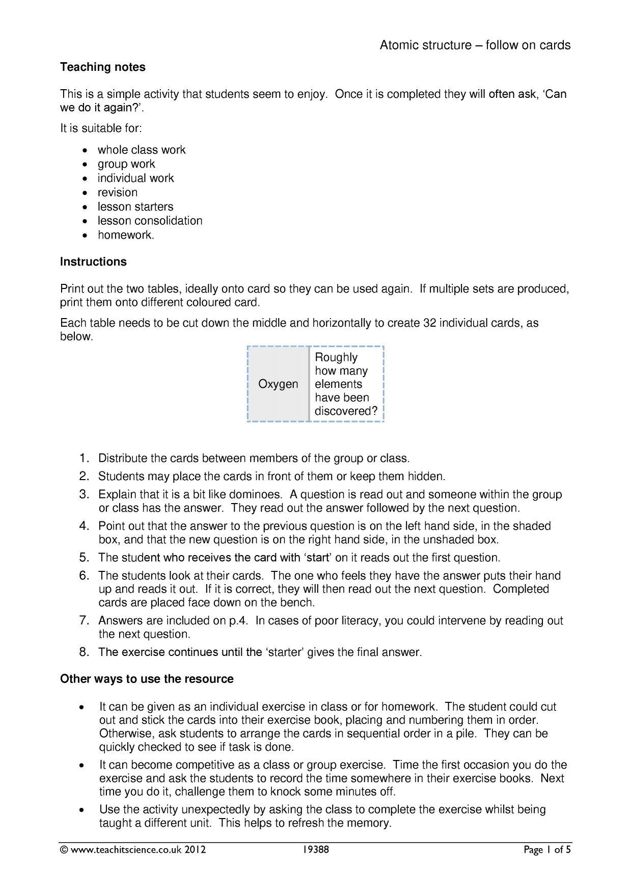 Atomic structure worksheet ks4