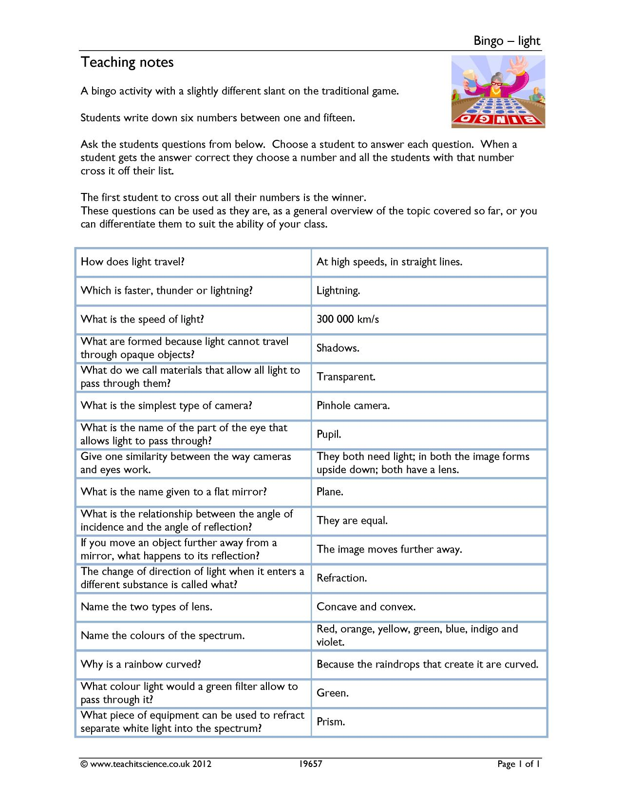 Free Worksheet Ight Worksheets teachit science ks3 physics teaching resources worksheets and 0 preview