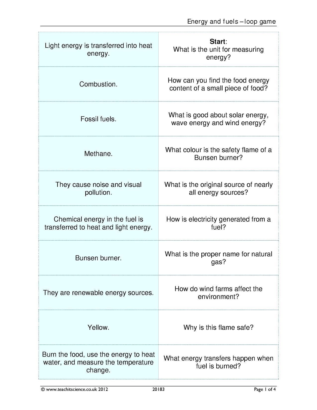 Energy Efficiency Worksheet Ks3 Kidz Activities Circuit Diagram Teachit Science