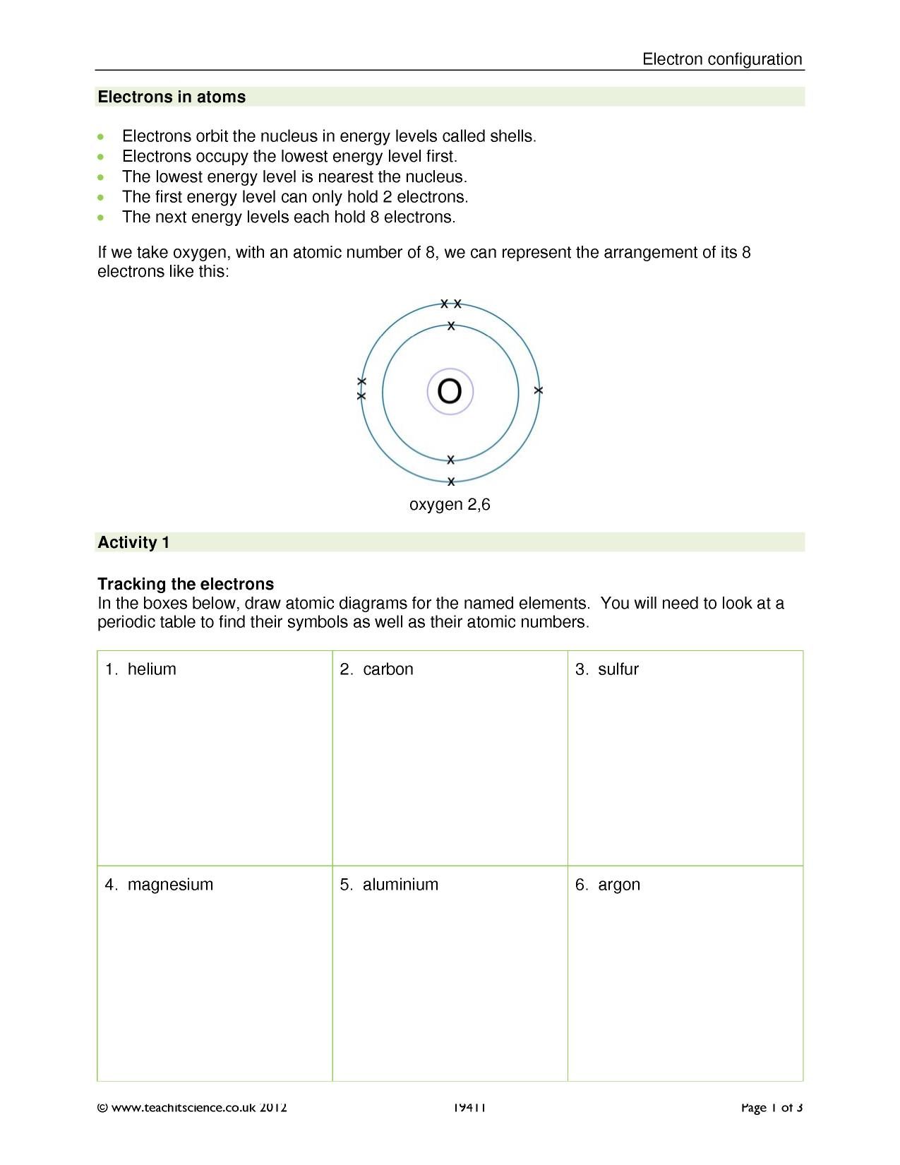 KS4 Atomic structure and bonding – Electron Configuration Worksheet and Lots More Answers