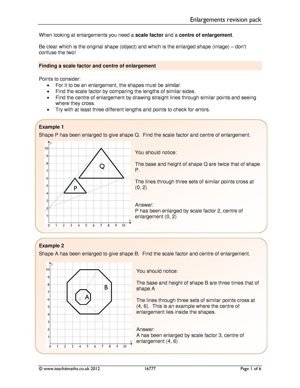 Enlargements revision pack