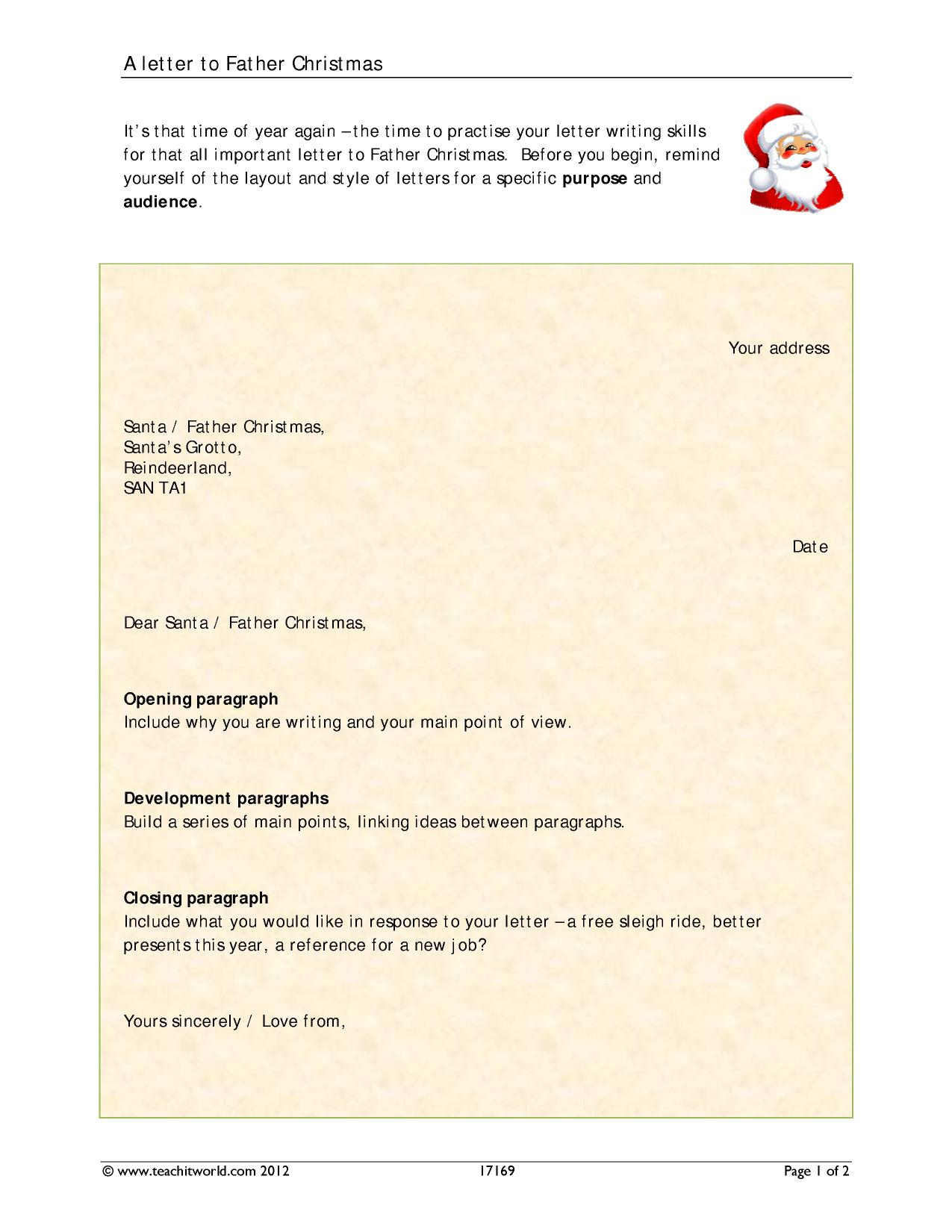 Christmas Letter Ideas.A Letter To Father Christmas