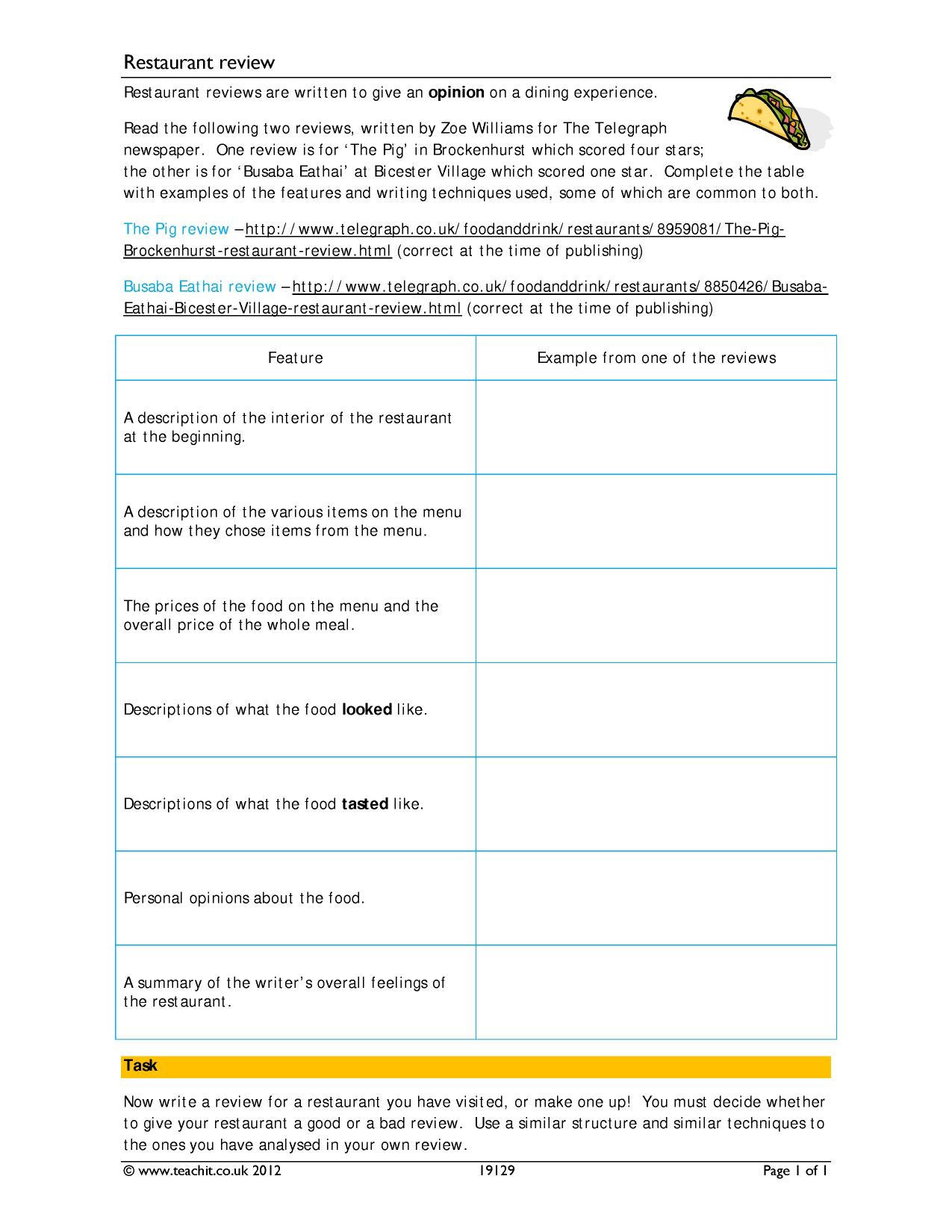 restaurant evaluations essays Trs02-9912-2 sample restaurant evaluation page: 1 of 6 0 a arrive within one to two minutes to take your order service 1 a check back to ensure that your meal was.