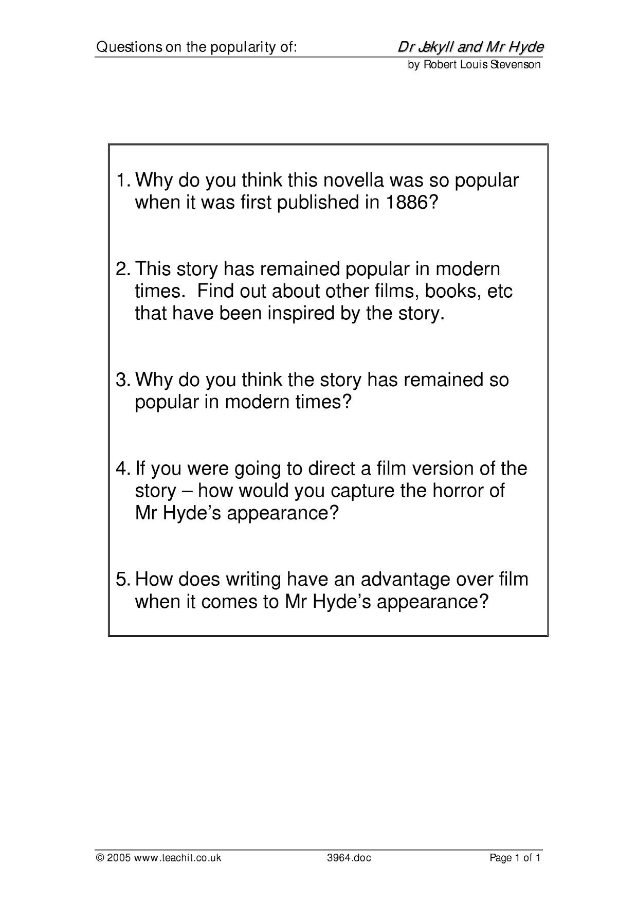 dr jekyll mr hyde essay questions Suggested essay topics and project ideas for dr jekyll and mr hyde part of a detailed lesson plan by bookragscom.