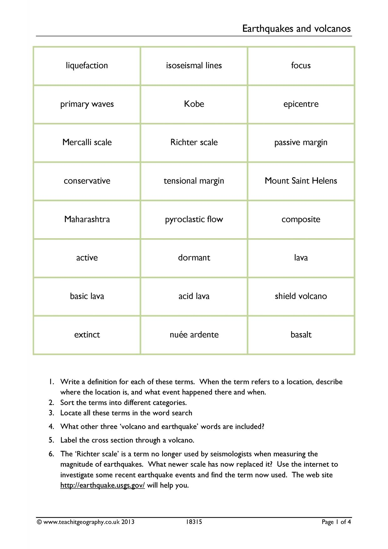 worksheet Earthquakes And Volcanoes Worksheet ks4 earthquakes teachit geography 1 preview