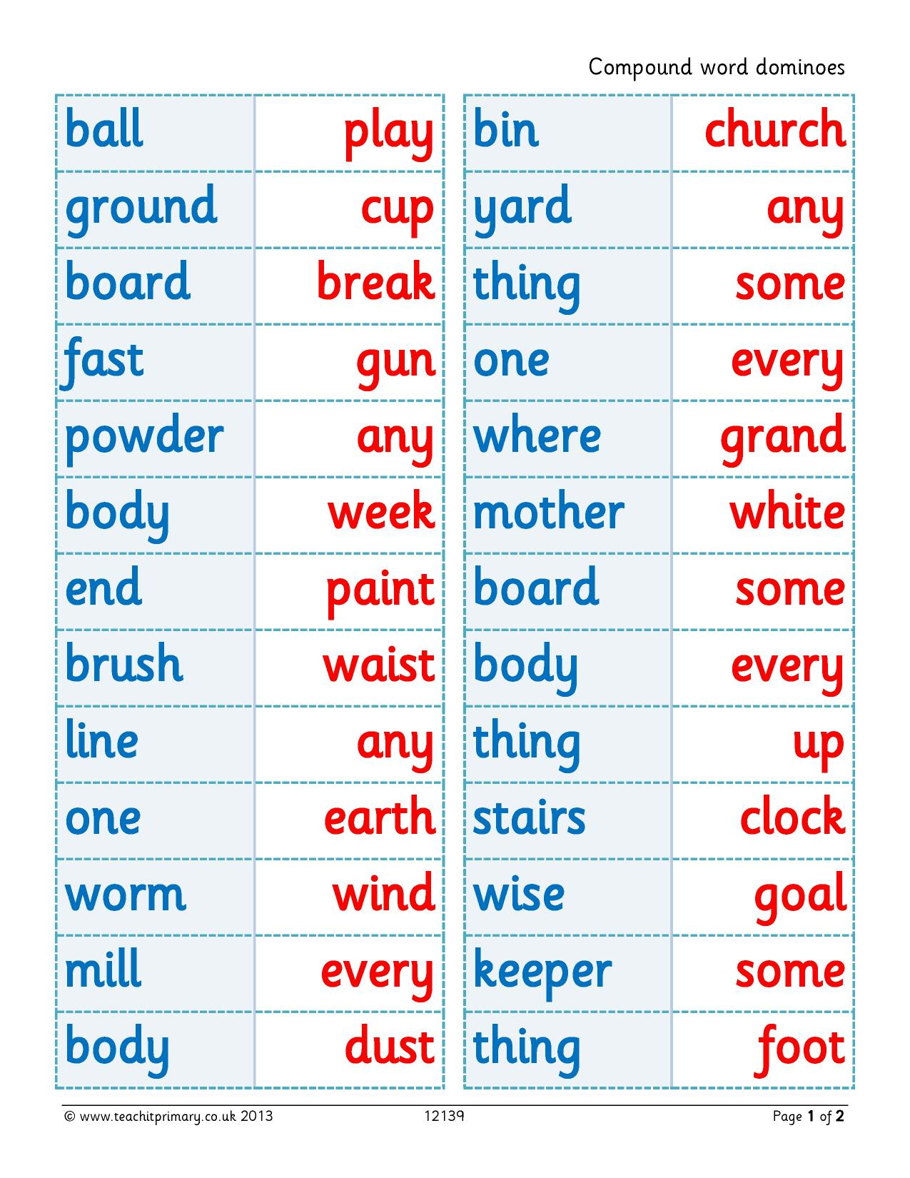 worksheet Compound Words Ks1 Worksheet eyfs ks1 ks2 word classes teachit primary 1 preview