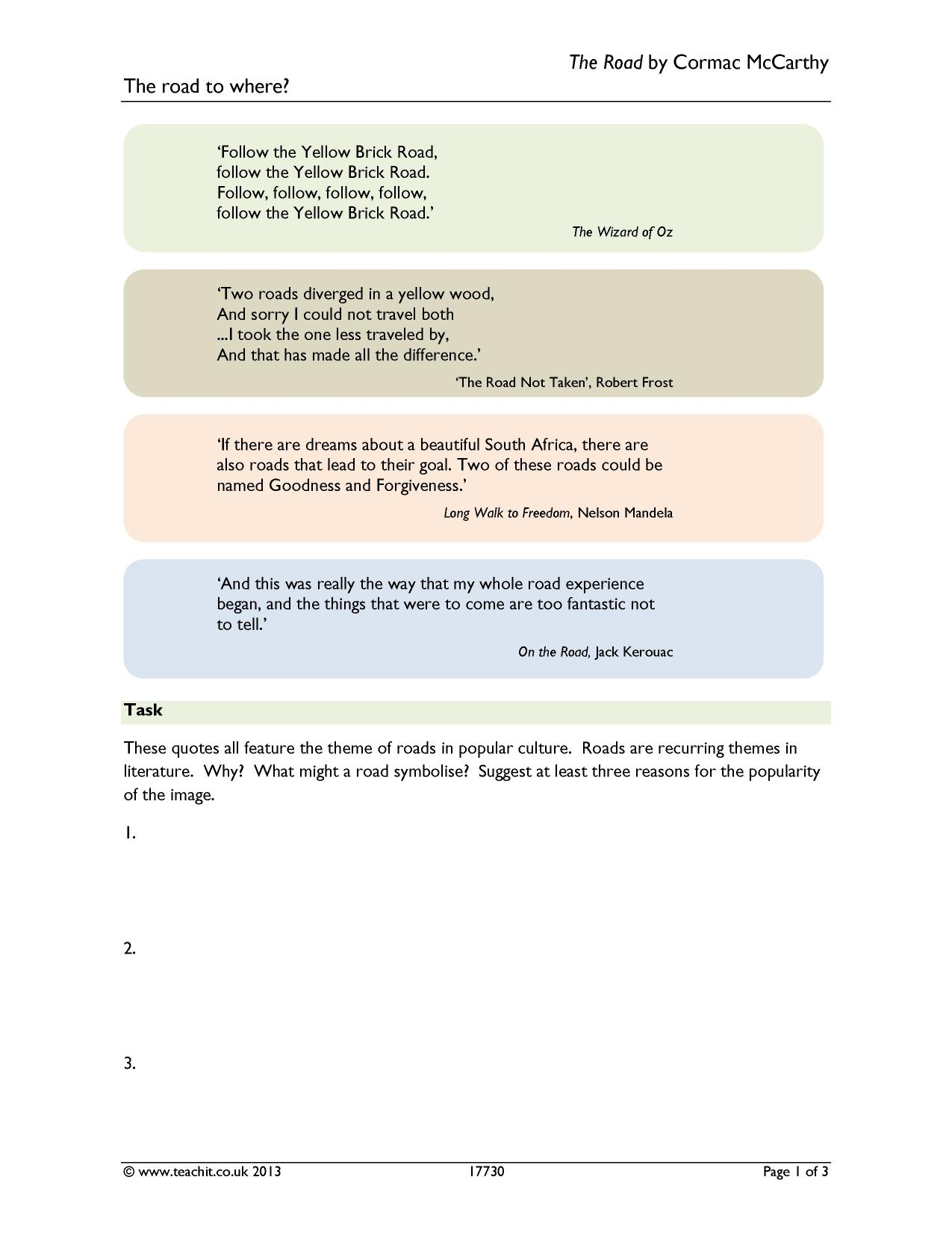 the road not taken search results Teachit English – The Road Not Taken Worksheet
