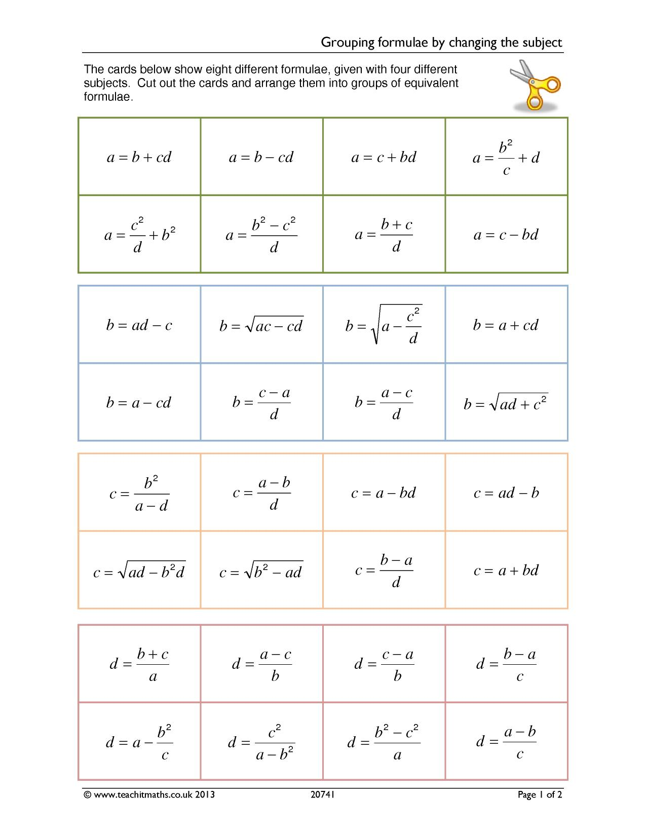worksheet Changing Subject Of Formula Worksheet formulae and substitution teachit maths 3 preview