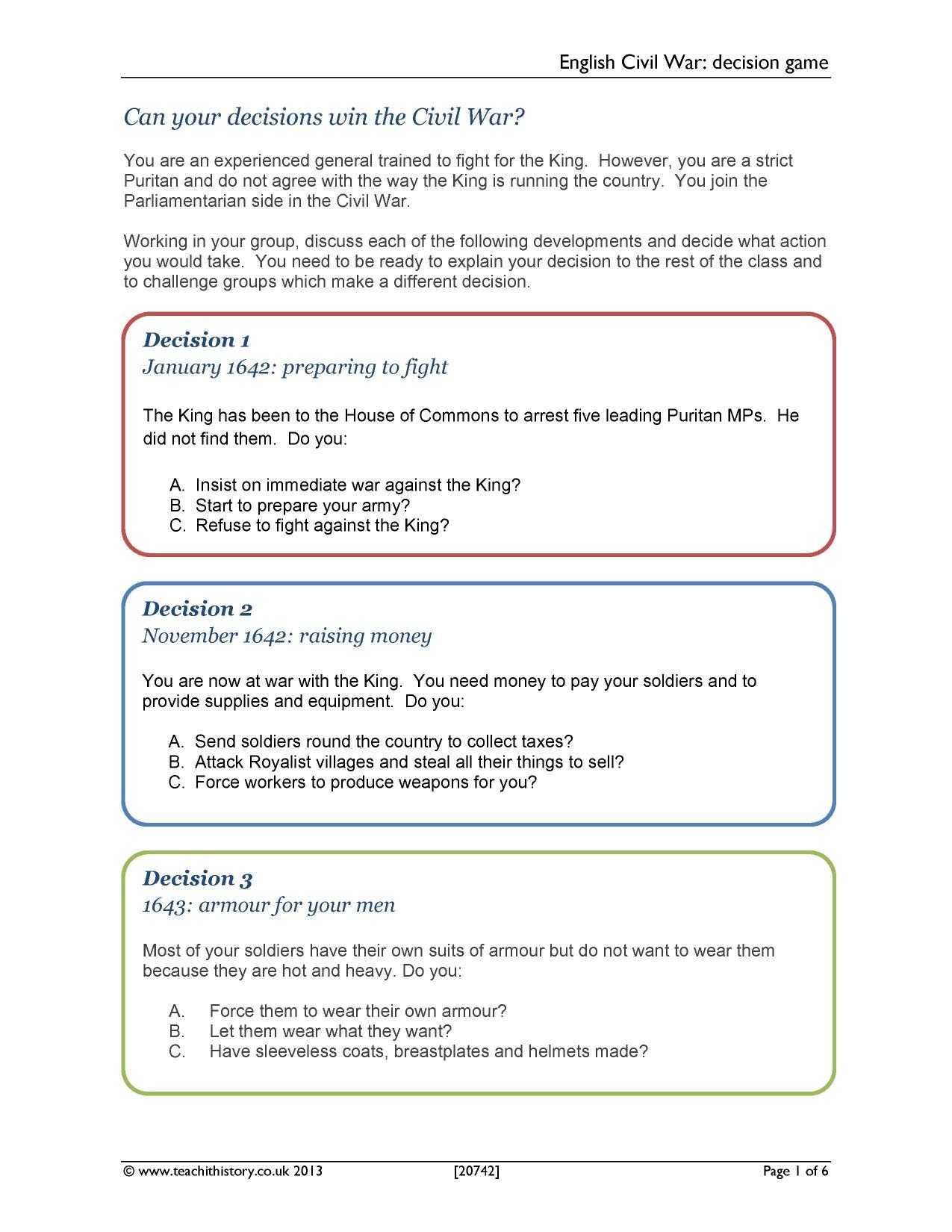 worksheet Civil War Timeline Worksheet ks3 the english civil war teachit history 1 preview