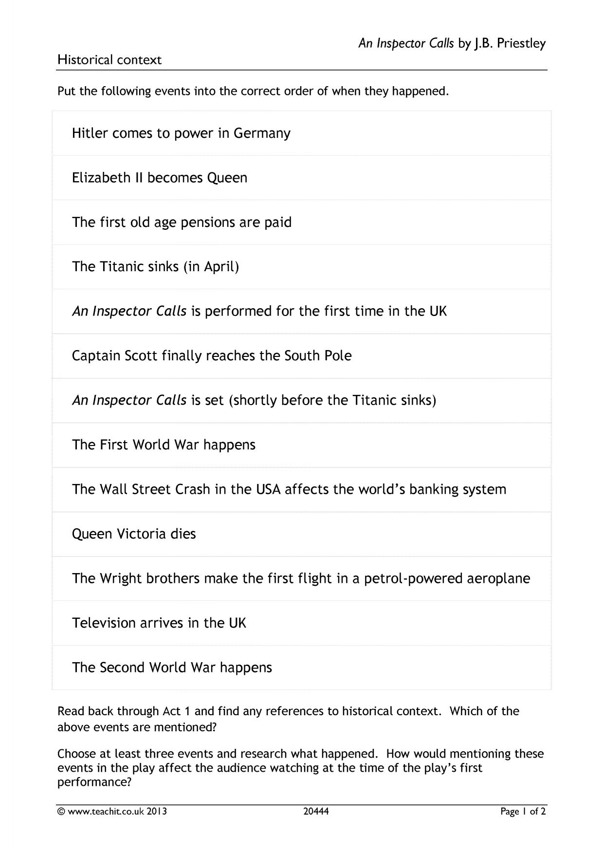 inspector calls essay introduction A summary of act three in j b priestley's an inspector calls perfect for acing essays, tests, and quizzes, as well as for writing lesson plans sparknotes.