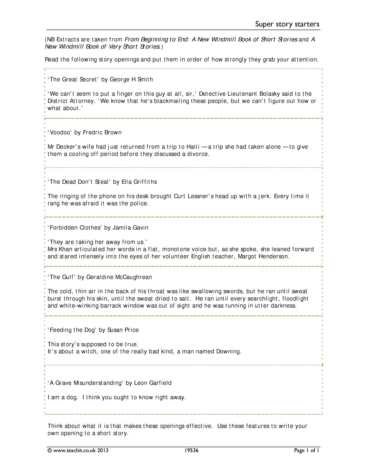 KS3 | Short stories | Teachit English