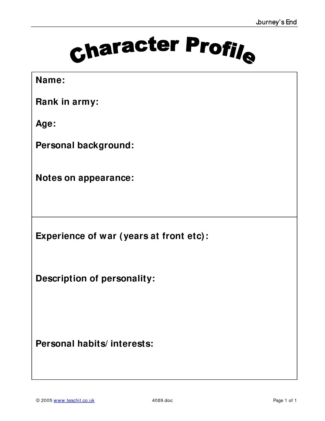 Charming character dossier template gallery resume ideas for Teaching dossier template