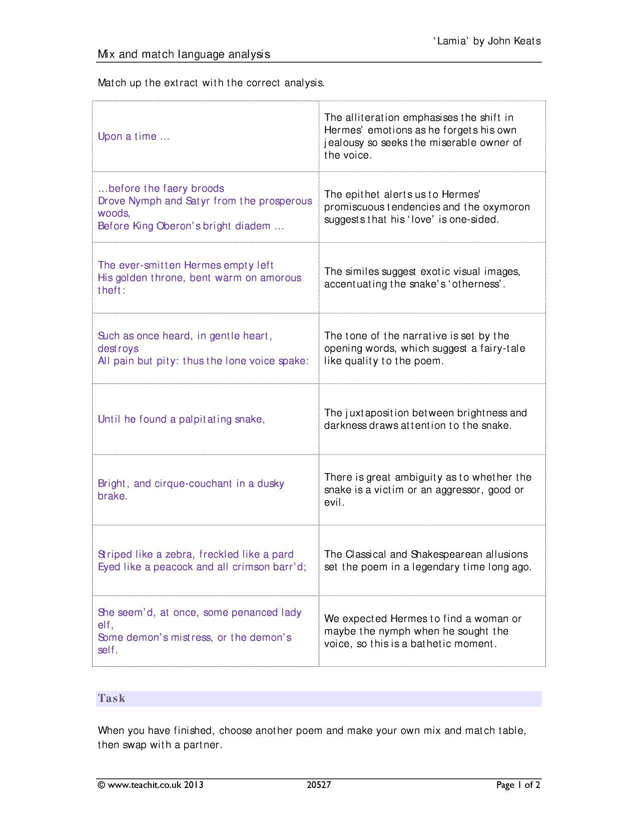 worksheet Poem Analysis Worksheet analysis search results teachit english 4 preview
