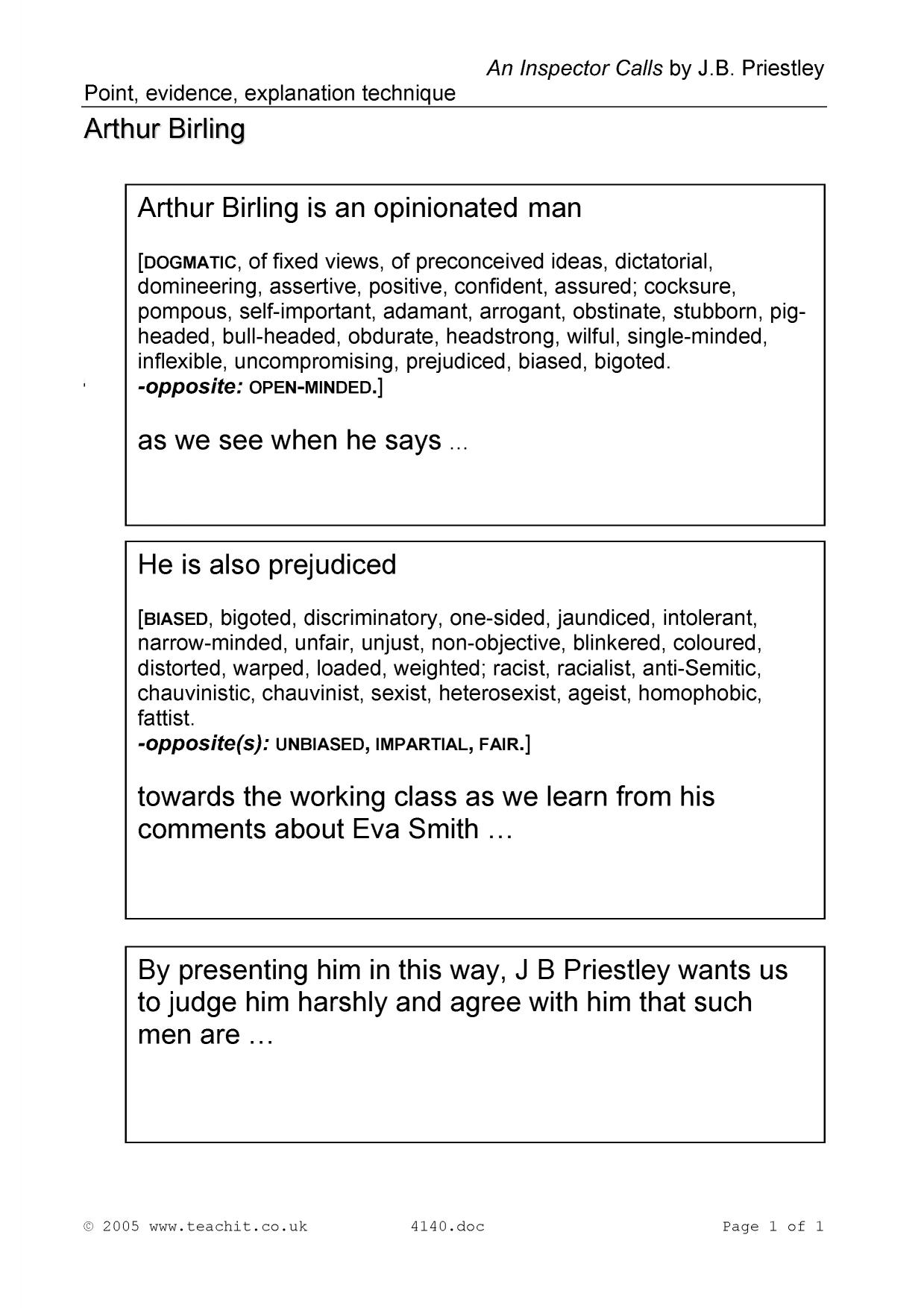 point evidence explanation technique an inspector calls by point evidence explanation technique an inspector calls by j b priestley home page