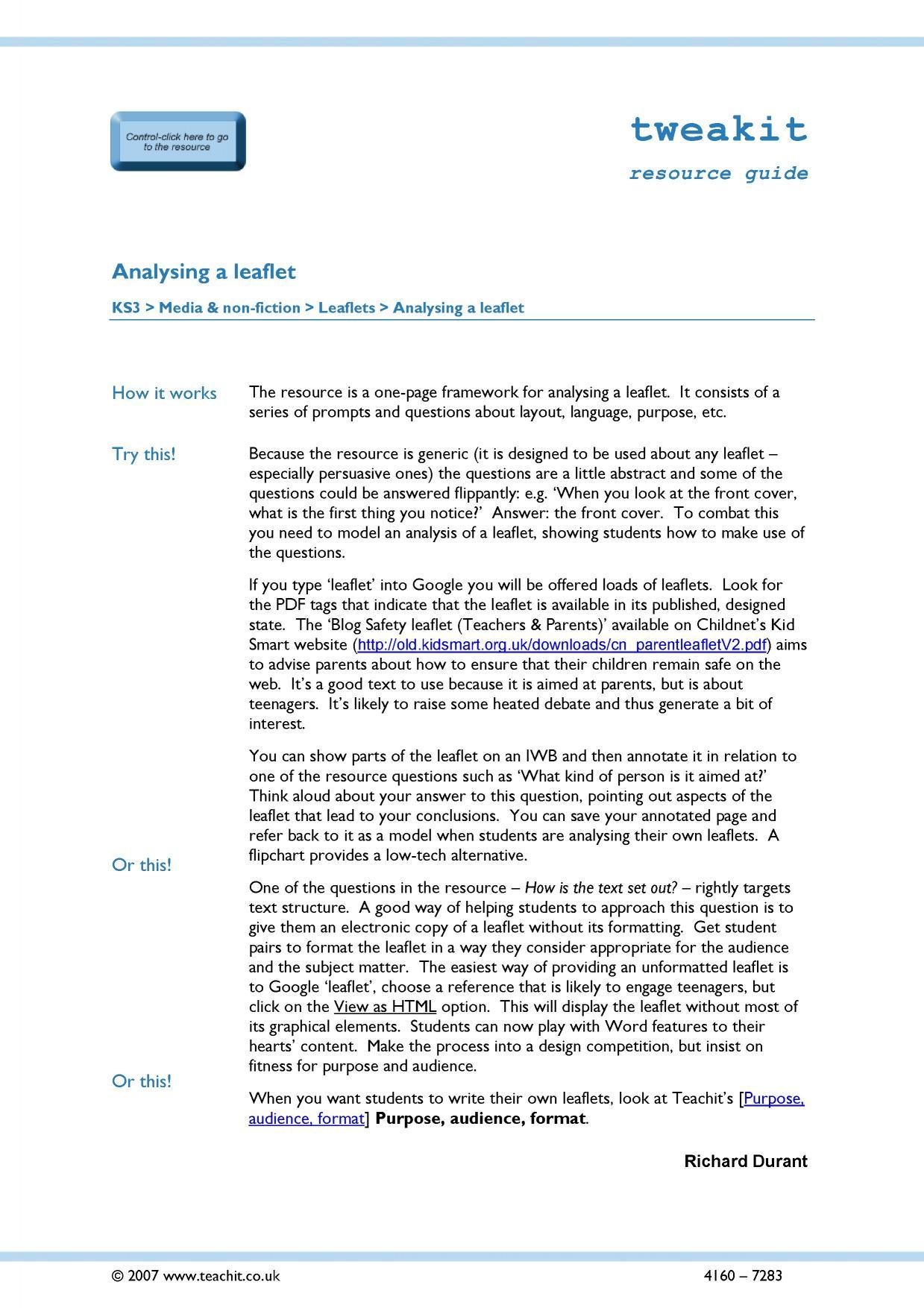 Ks4 Reading Media Texts Teachit English