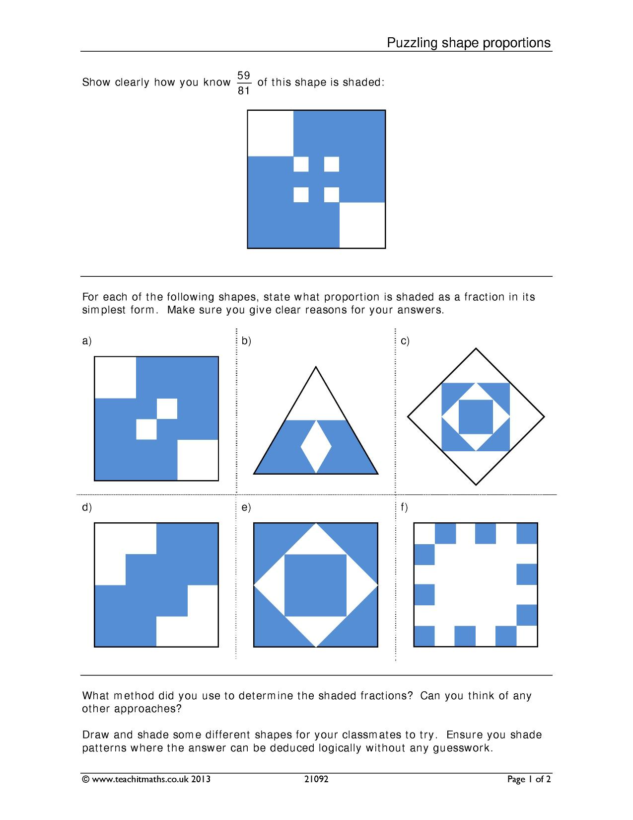 Puzzling Shape Proportions Number Fractions Fraction