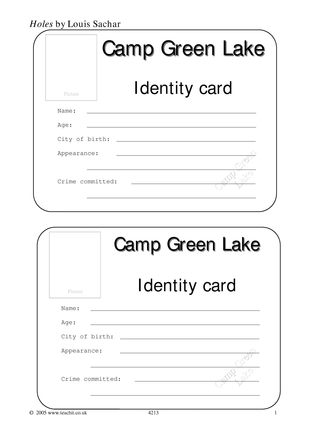 holes essay camp green lake id card holes by louis sachar home  camp green lake id card holes by louis sachar home page