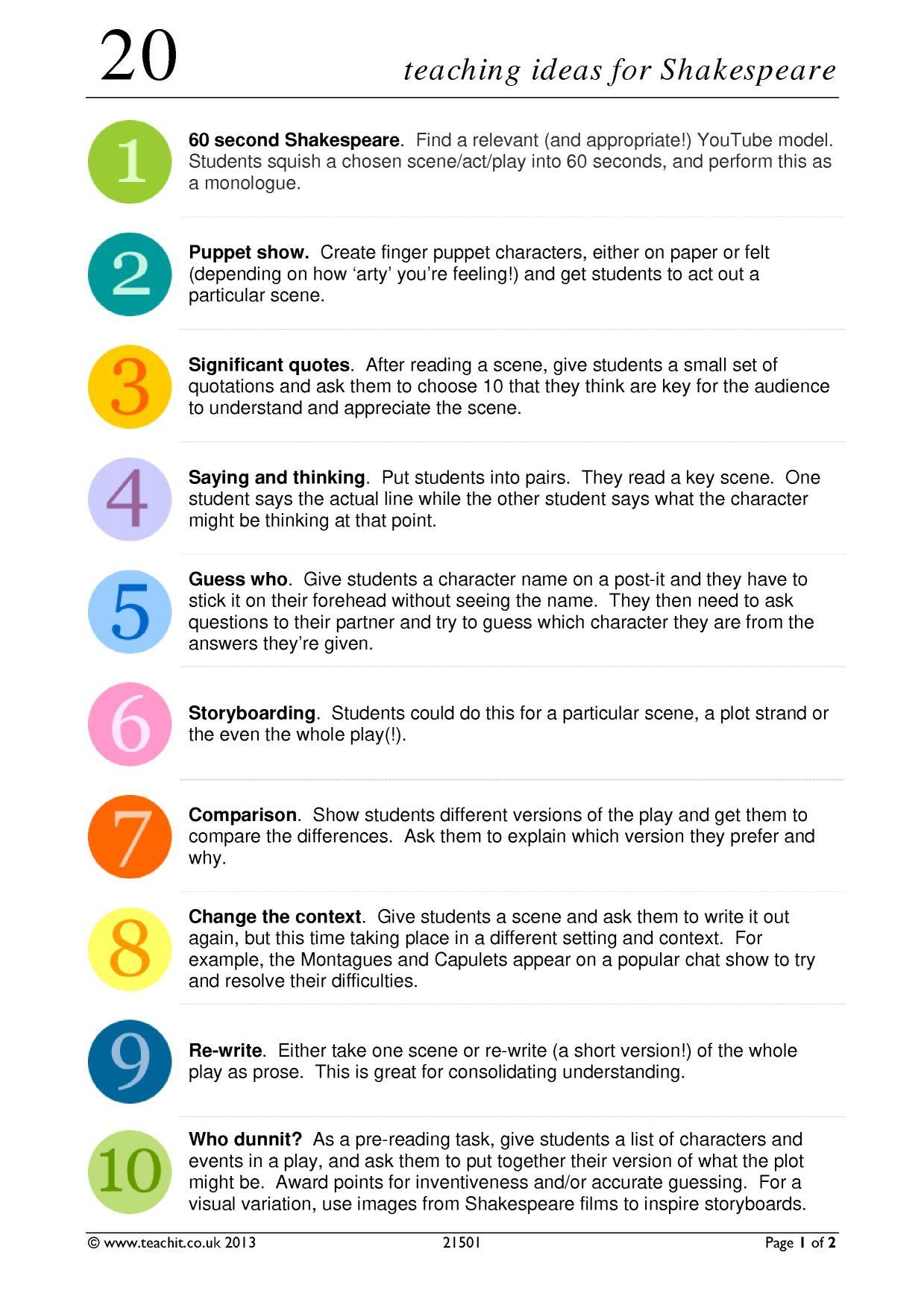 20 teaching ideas for shakespeare