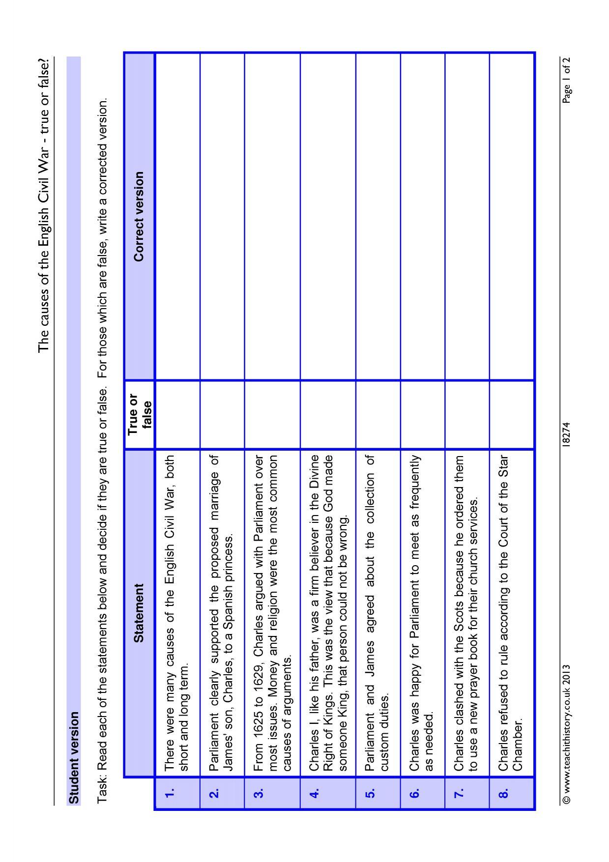 Worksheet Causes Of The Civil War Worksheet Worksheet