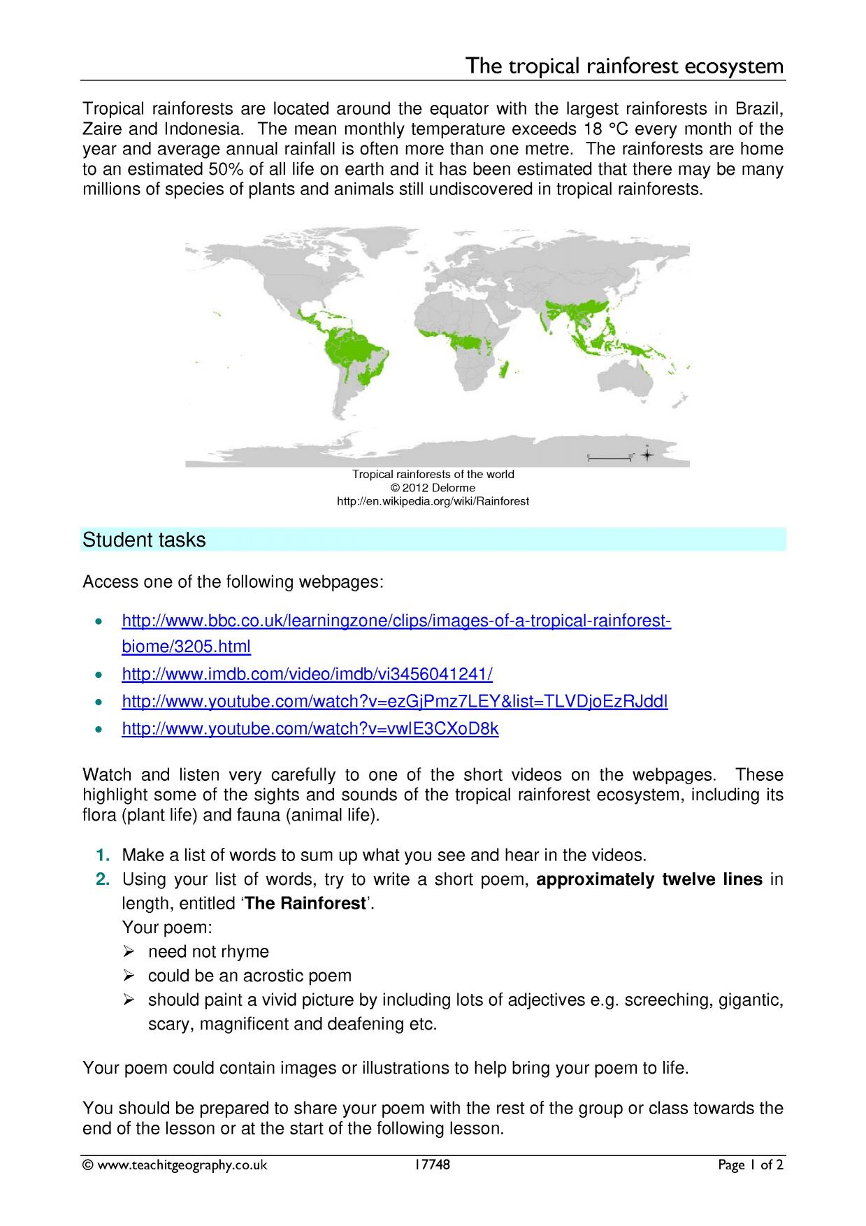 worksheet. Tropical Rainforest Worksheet. Thedanks Worksheet For ...