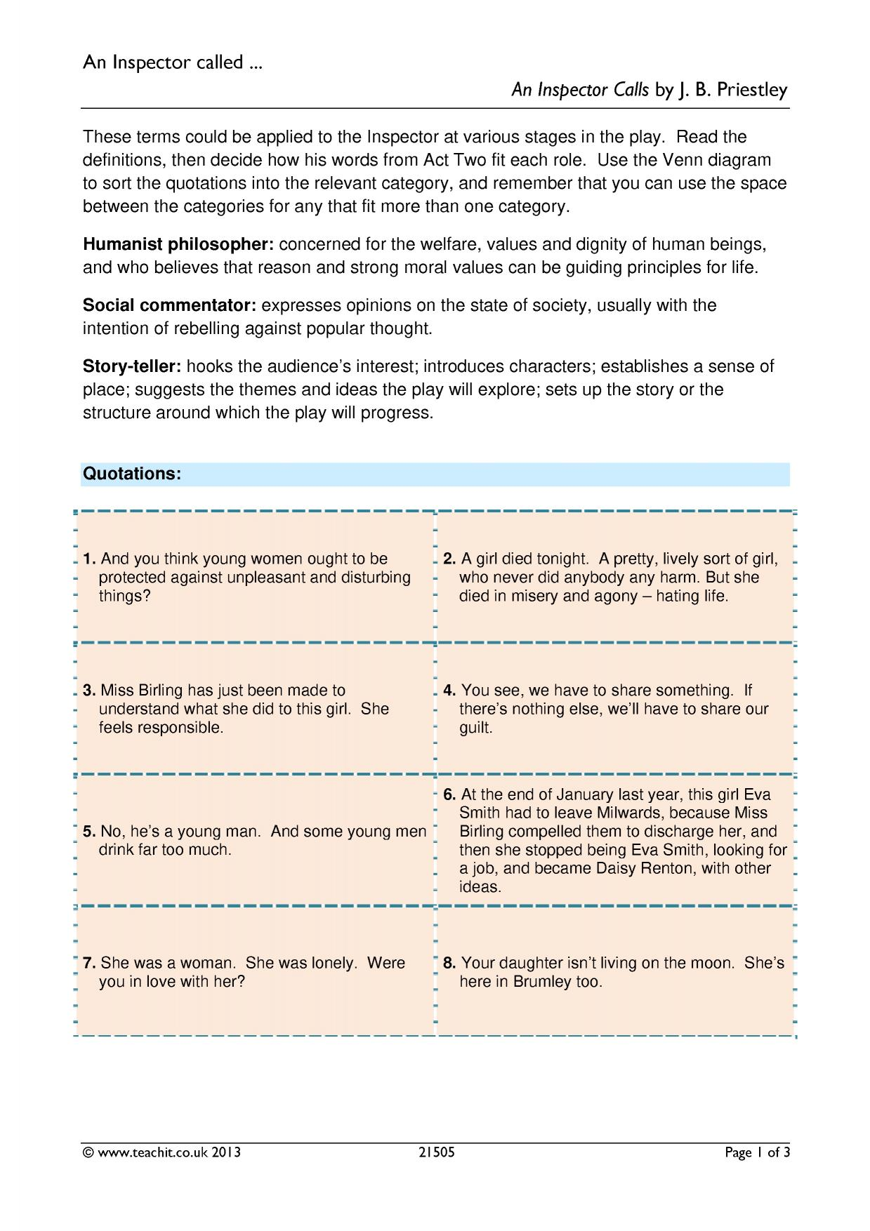 an inspector calls 12 essay Humanities essays (12, 746) notes on an inspector calls for gcse essay by craigy1000 notes on an inspector calls for gcse.