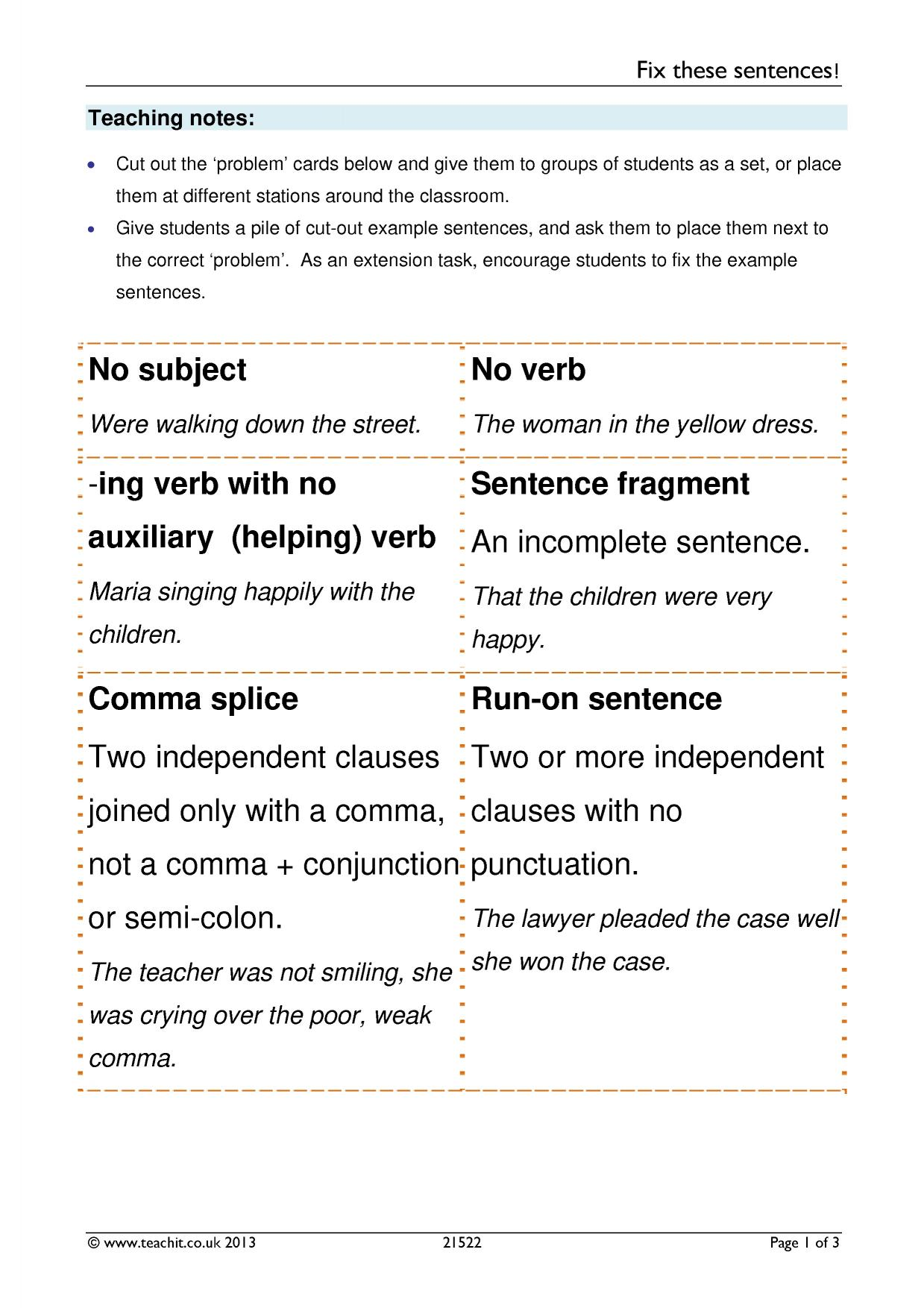 worksheet Comma Splice Worksheet commas search results teachit english 1 preview