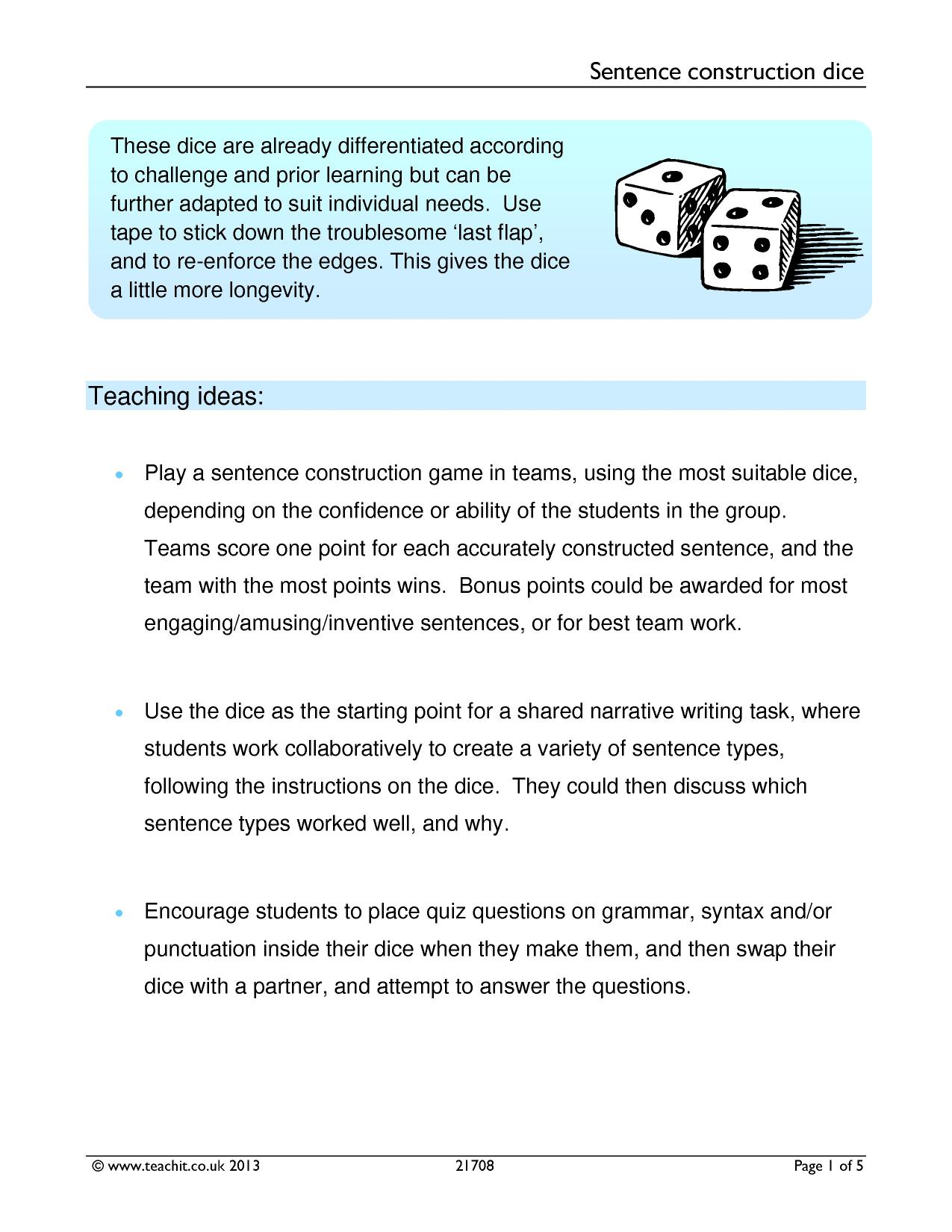 ks3 sentence construction teachit english