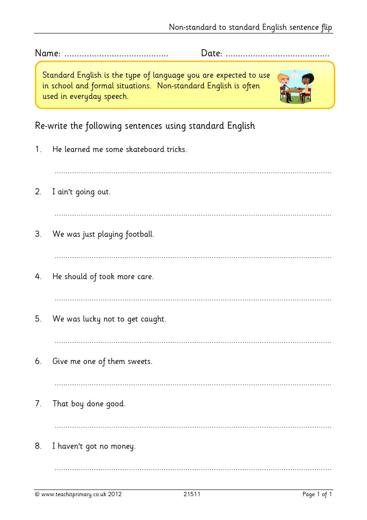 worksheet Ks2 Worksheets English non standard to english sentence flip complex sentences resource thumbnail
