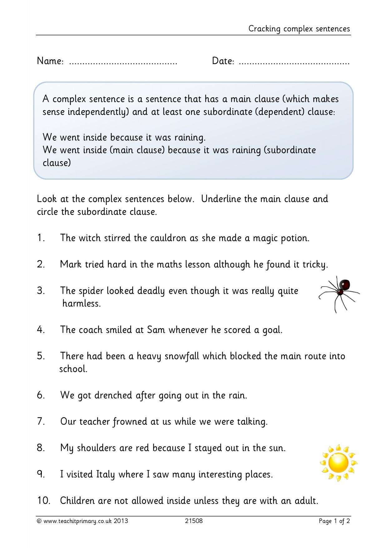 Complex sentences worksheet ks2