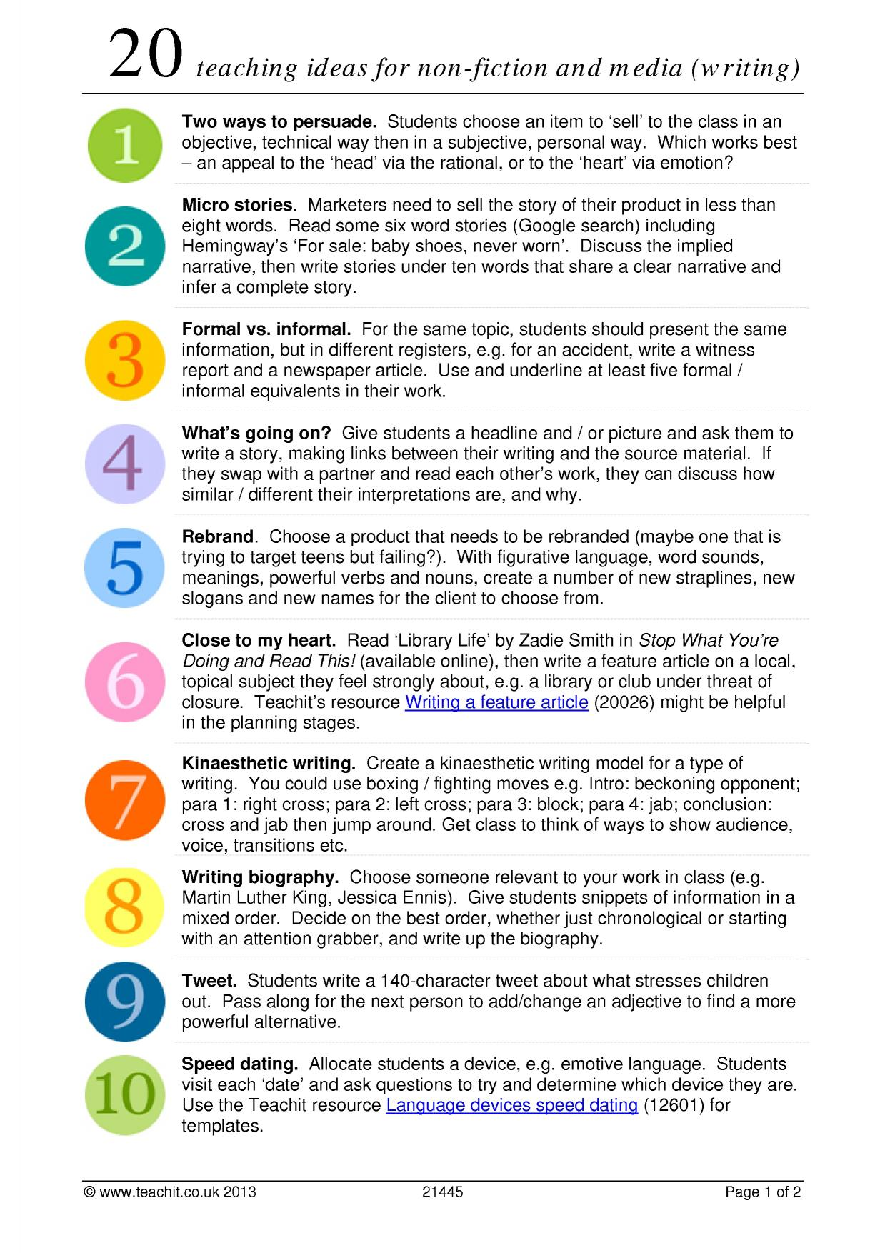 creative writing resources ks3