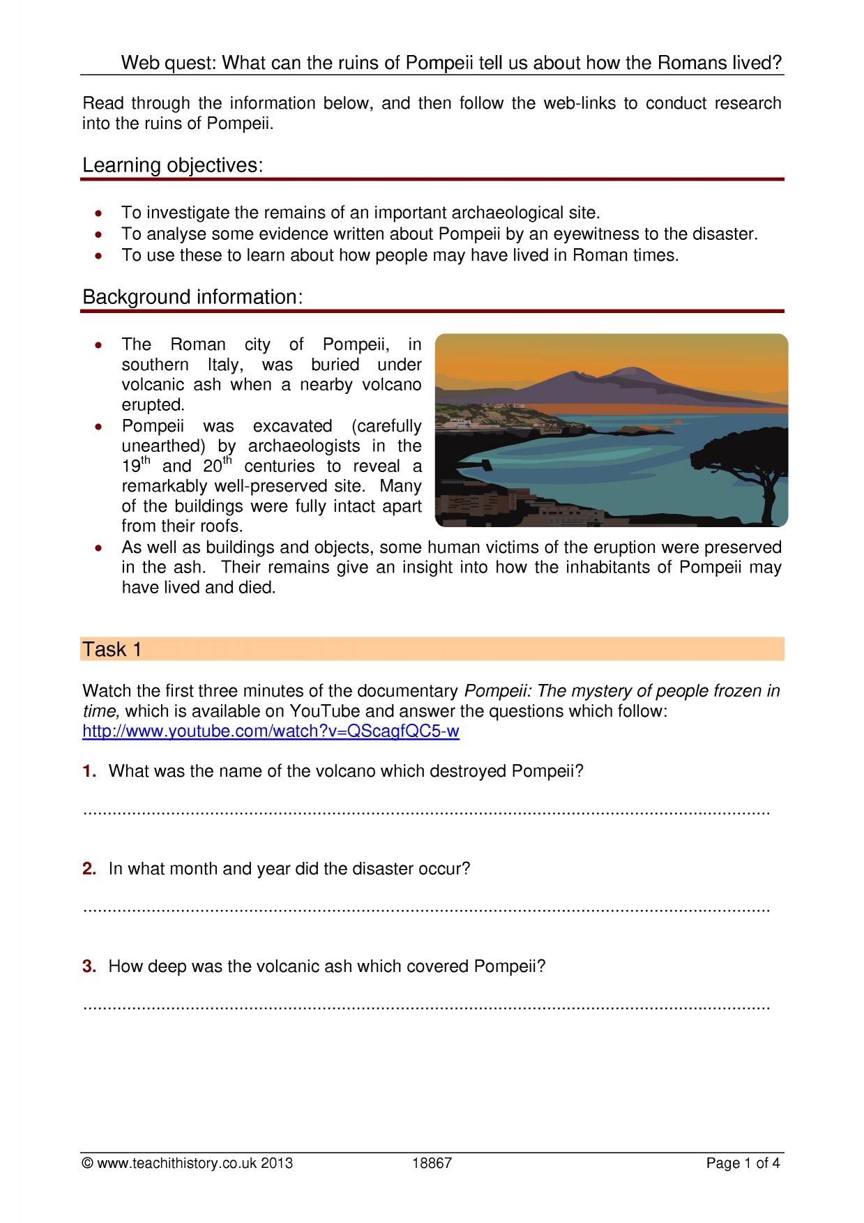Worksheets Pompeii Worksheet web quest what can the ruins of pompeii tell us about how resource thumbnail