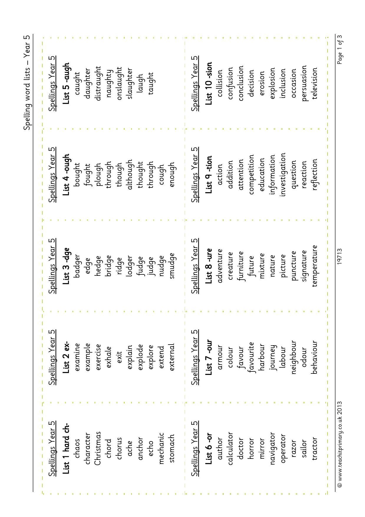Spelling word lists – year 5 [PDF] |Spelling tests |KS2