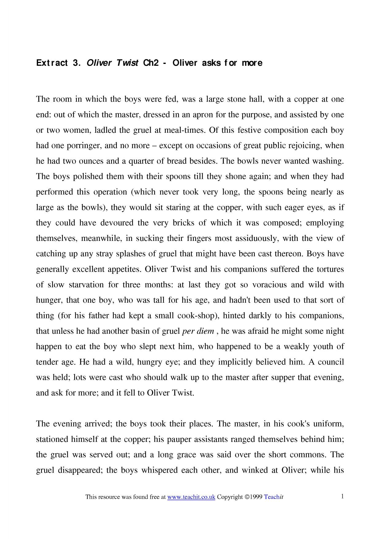 oliver twist thesis essay Oliver twist was written by english author, charles dickens charles was one of the best novelists in english literature this book is about oliver twist, an orphan who leaves a workhouse and goes to london.