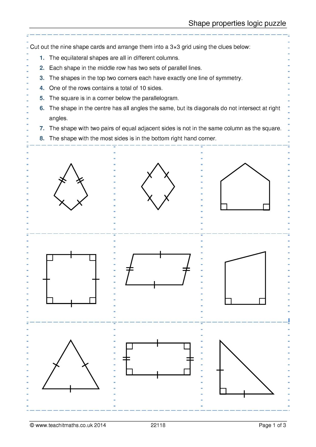 worksheet Properties Of Special Quadrilaterals Worksheet shape properties logic puzzle geometry and measure 2d shapes resource thumbnail