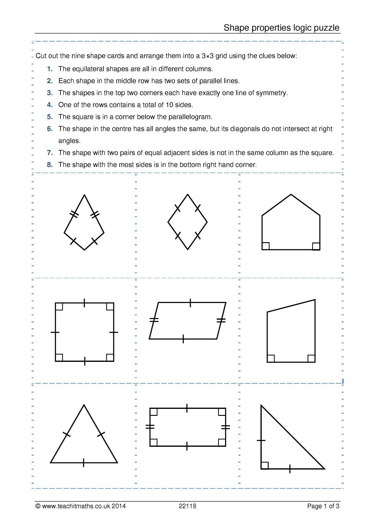 Area of shapes worksheet ks3