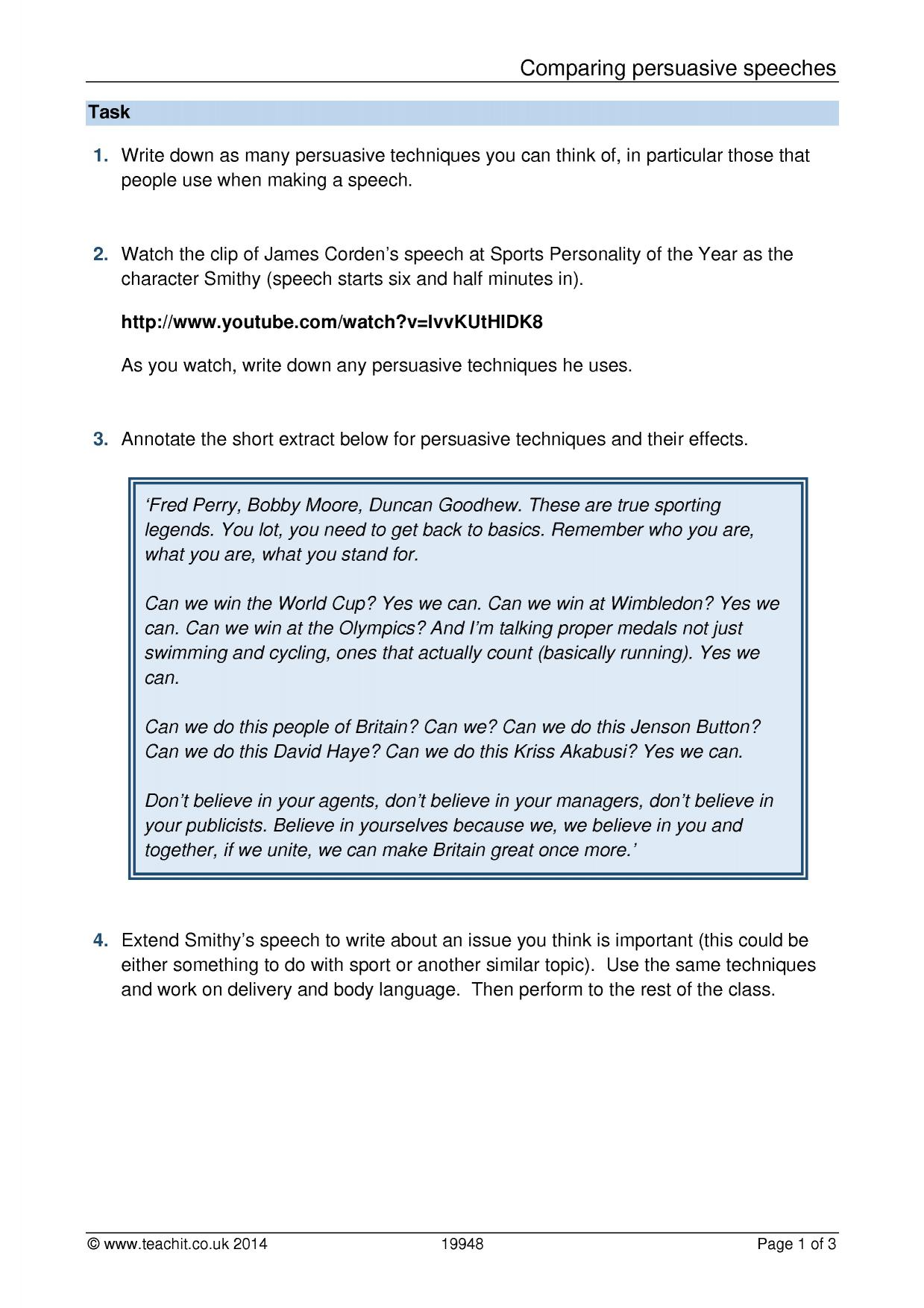 Worksheets Persuasive Techniques Worksheets ks3 argument and persuasive writing teachit english 4 preview