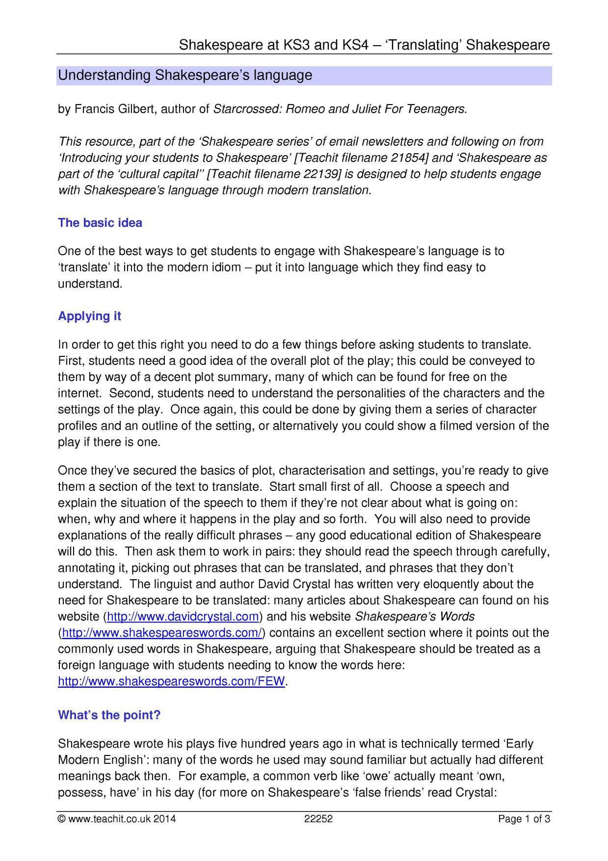 KS3 Introduction to Shakespeare language – Shakespeare Language Worksheet