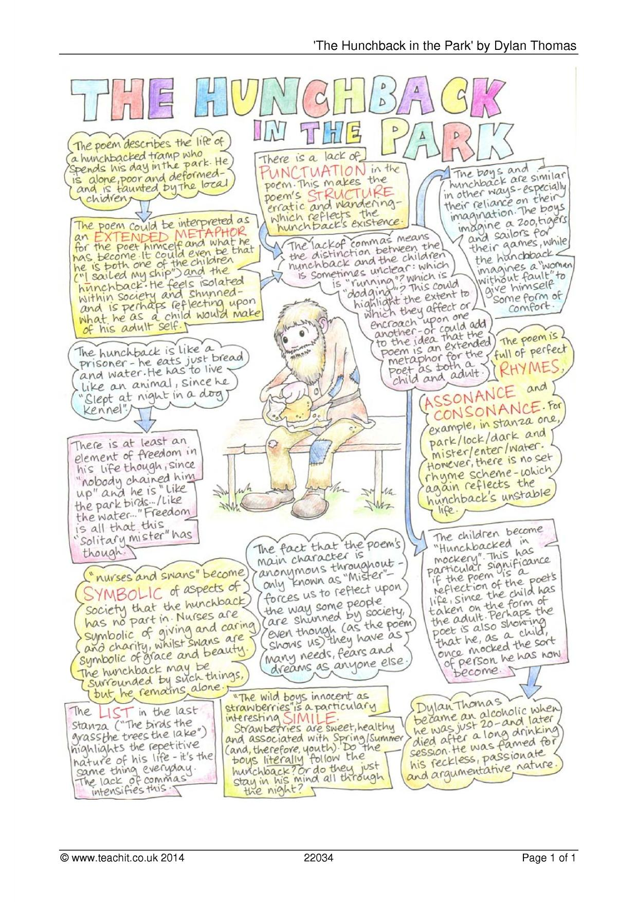 hunchback analysis essay The hunchback in the park english literature essay by dylan thomas the hunchback was written by dylan thomas it is a poem that makes me feel pity, as it is about a disabled, homeless man.