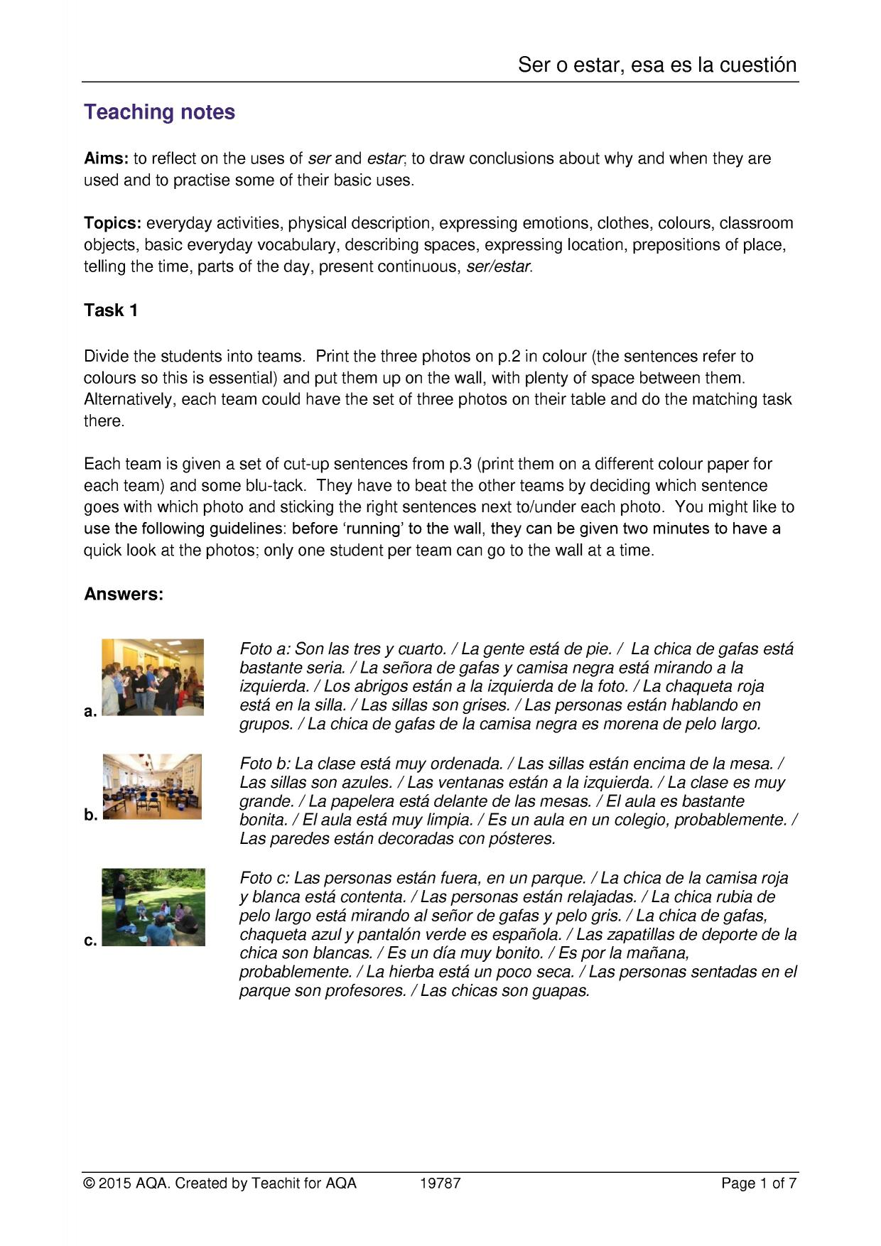 worksheet Ser Estar Worksheet aqa spanish resources teachit languages 2 preview