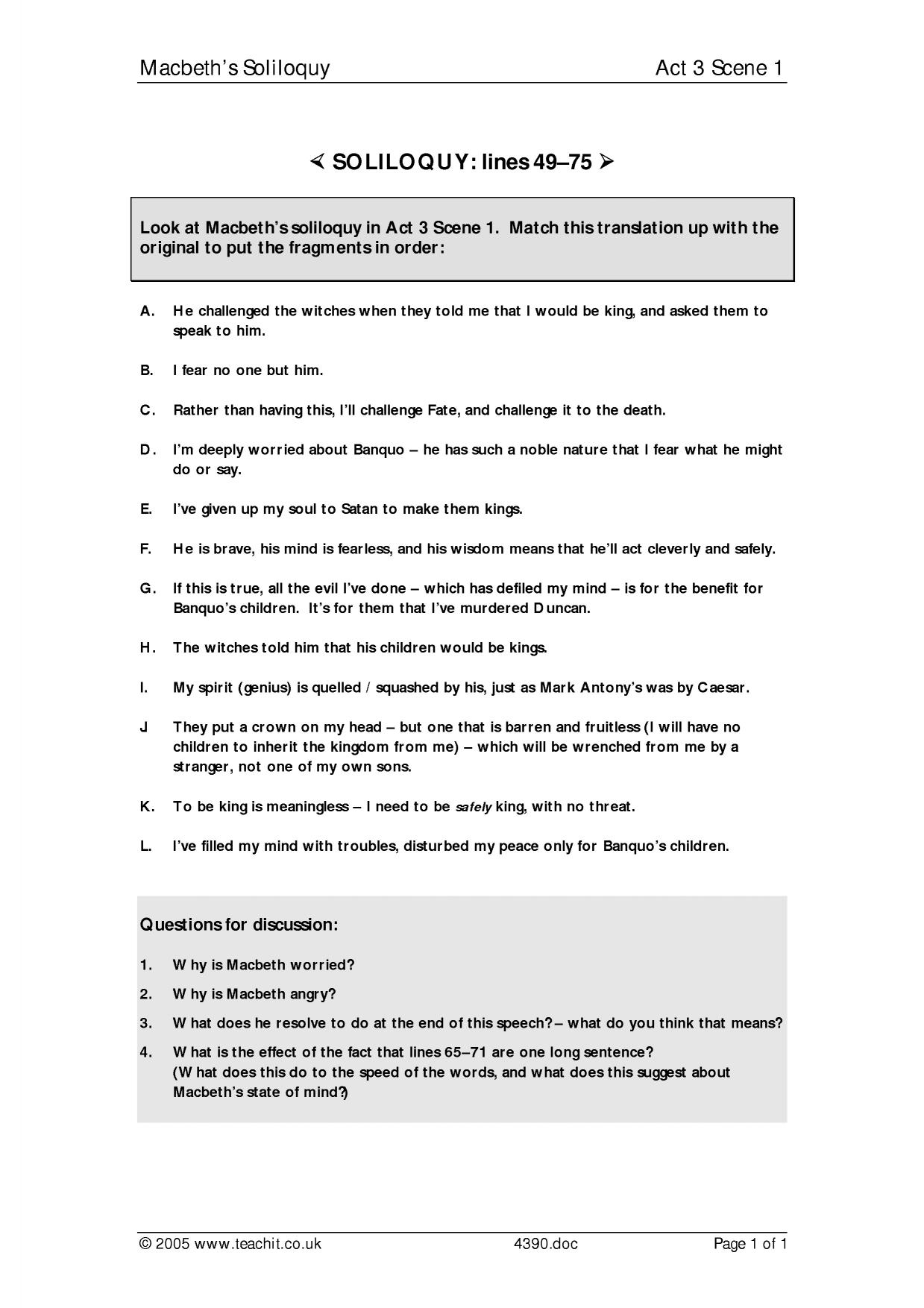 essay questions and answers for macbeth The bookrags lesson plan for macbeth includes 180 short answer test questions that evaluate  essay questions,  (read all 180 short answer questions and answers.