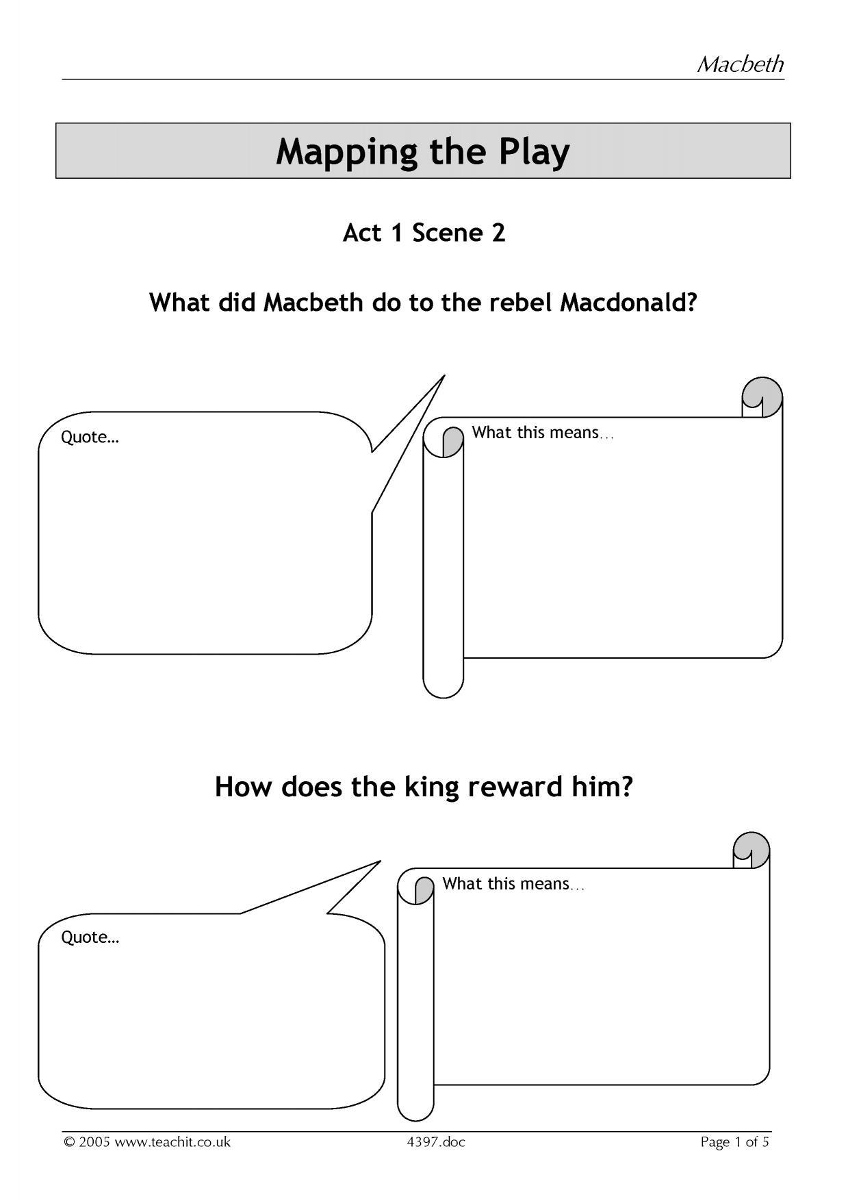 Ks4 Plays Macbeth Act 1 Teachit English