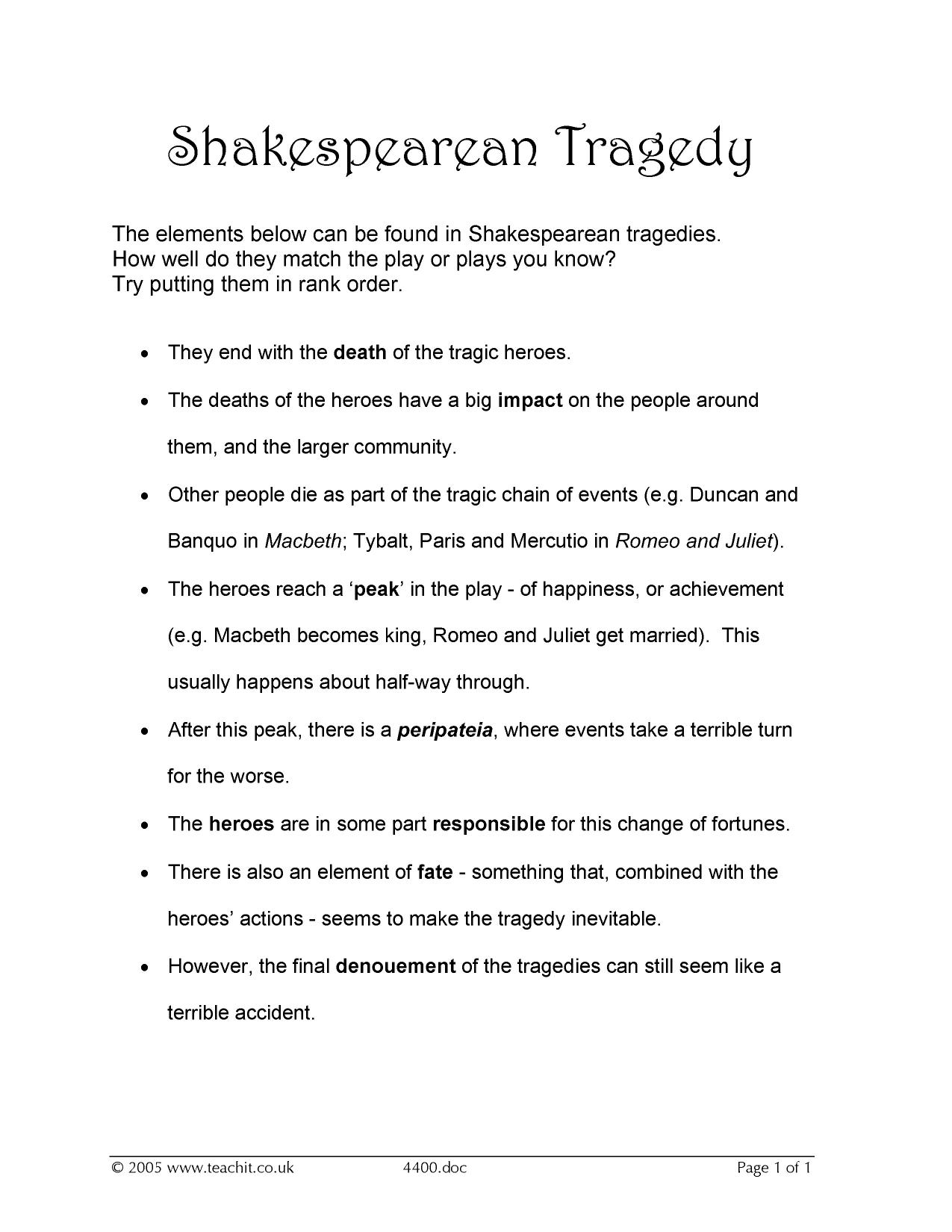 thesis on shakespearean tragedy William shakespeare is one of the most famous authors in english literature known for writing tragedies some consider shakespeare's play hamlet to be one of the best plays ever written.