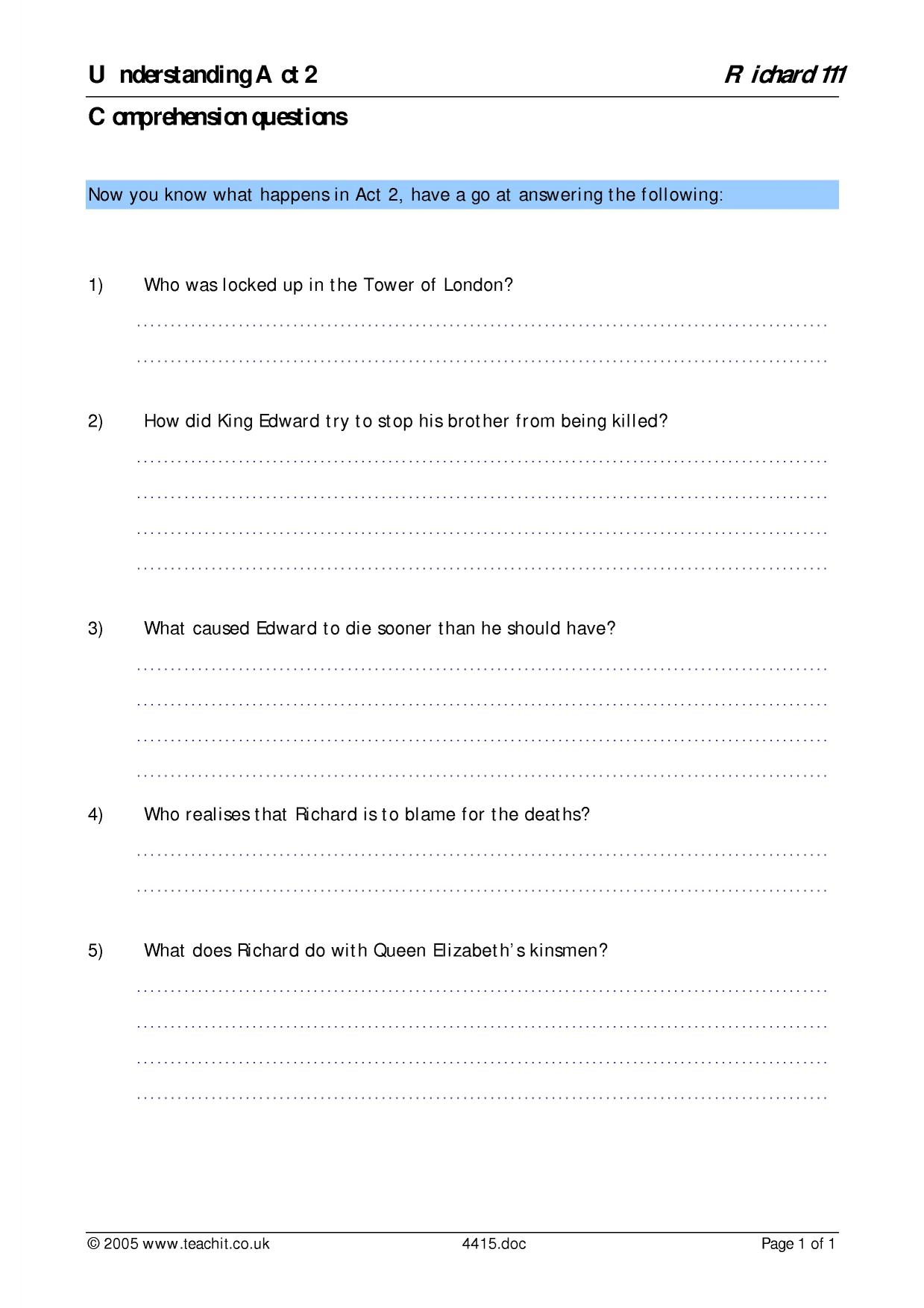 worksheet Cask Of Amontillado Worksheet Answers comprehension search results teachit english 2 preview